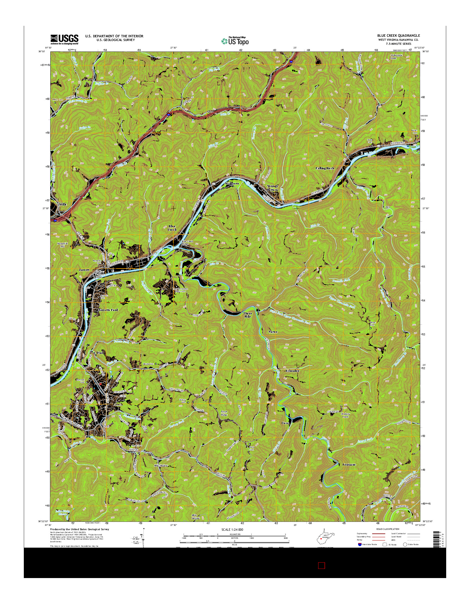 USGS US TOPO 7.5-MINUTE MAP FOR BLUE CREEK, WV 2014