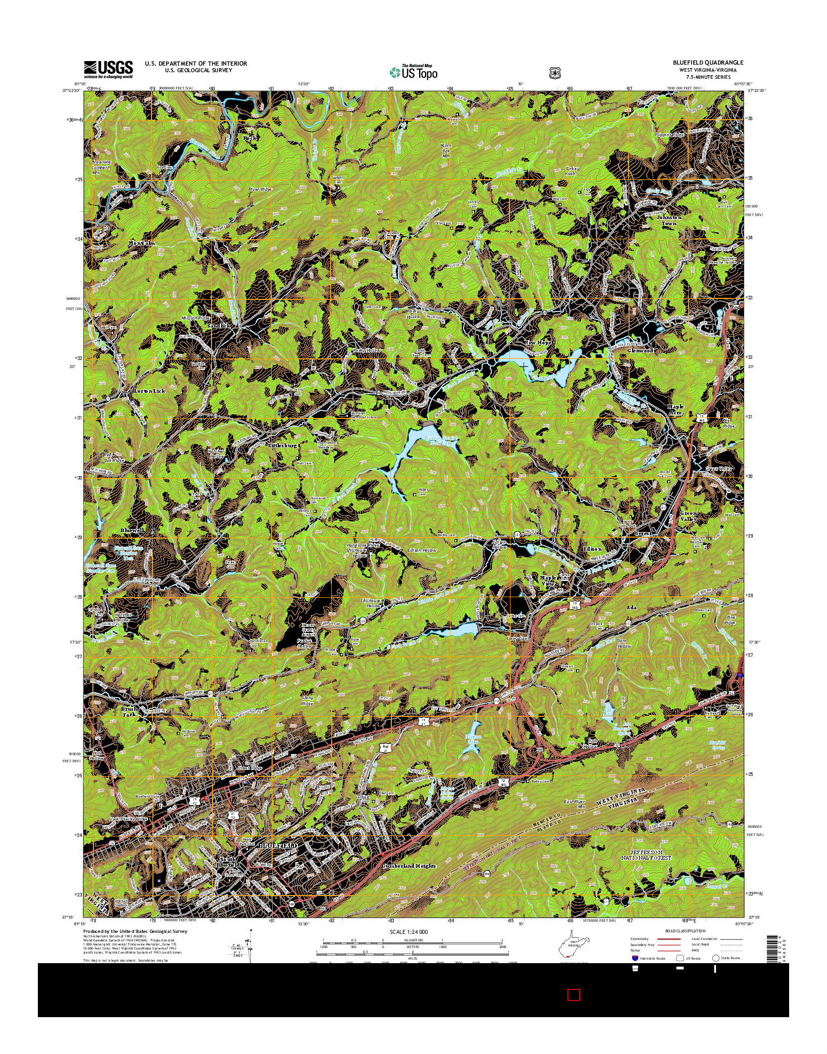 USGS US TOPO 7.5-MINUTE MAP FOR BLUEFIELD, WV-VA 2014