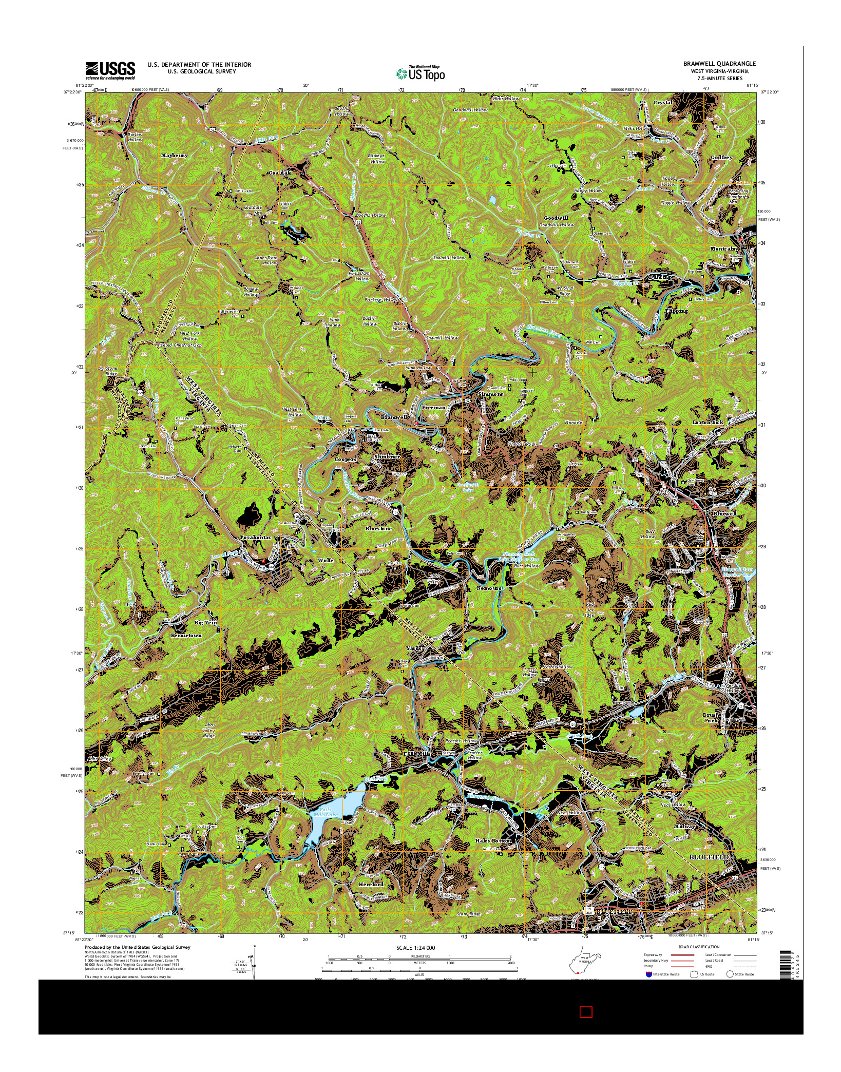USGS US TOPO 7.5-MINUTE MAP FOR BRAMWELL, WV-VA 2014