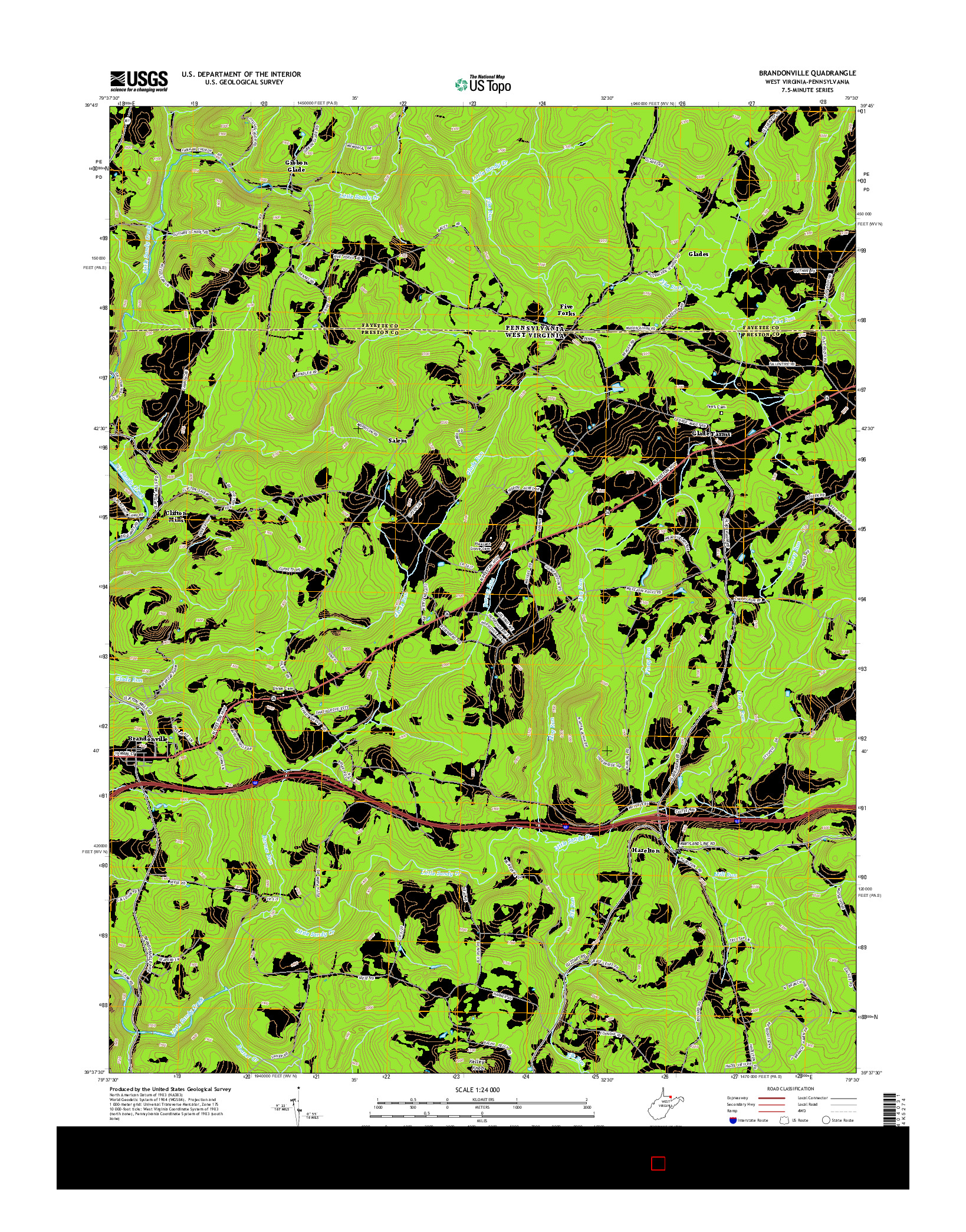 USGS US TOPO 7.5-MINUTE MAP FOR BRANDONVILLE, WV-PA 2014