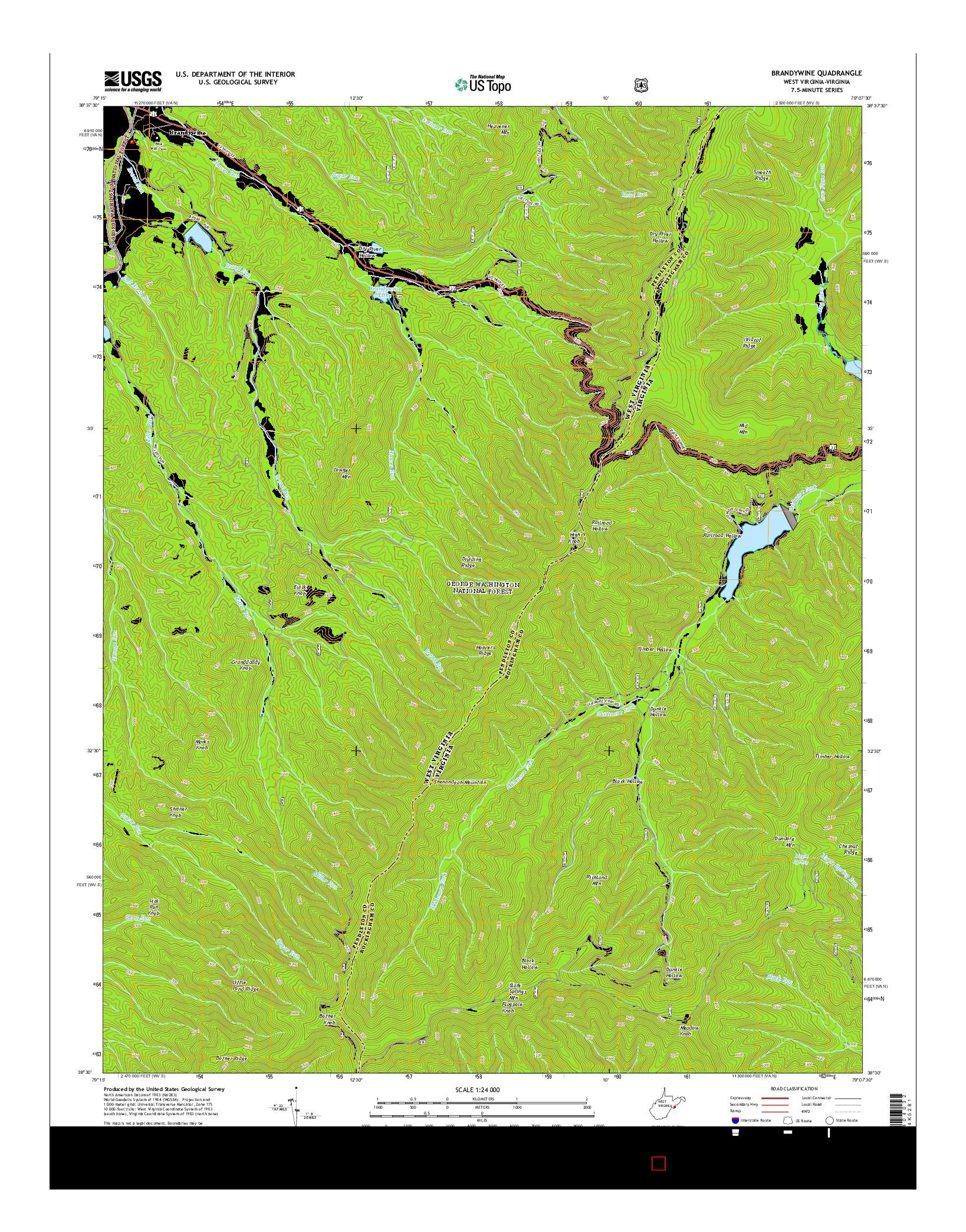 USGS US TOPO 7.5-MINUTE MAP FOR BRANDYWINE, WV-VA 2014