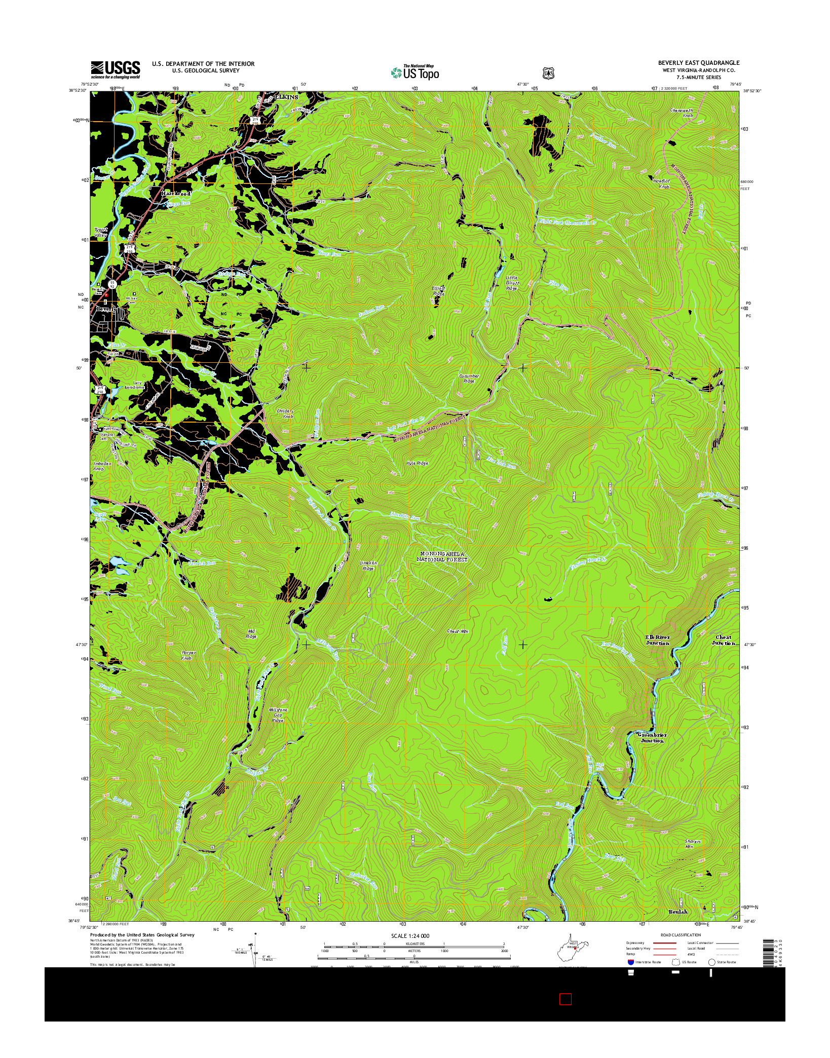 USGS US TOPO 7.5-MINUTE MAP FOR BEVERLY EAST, WV 2014