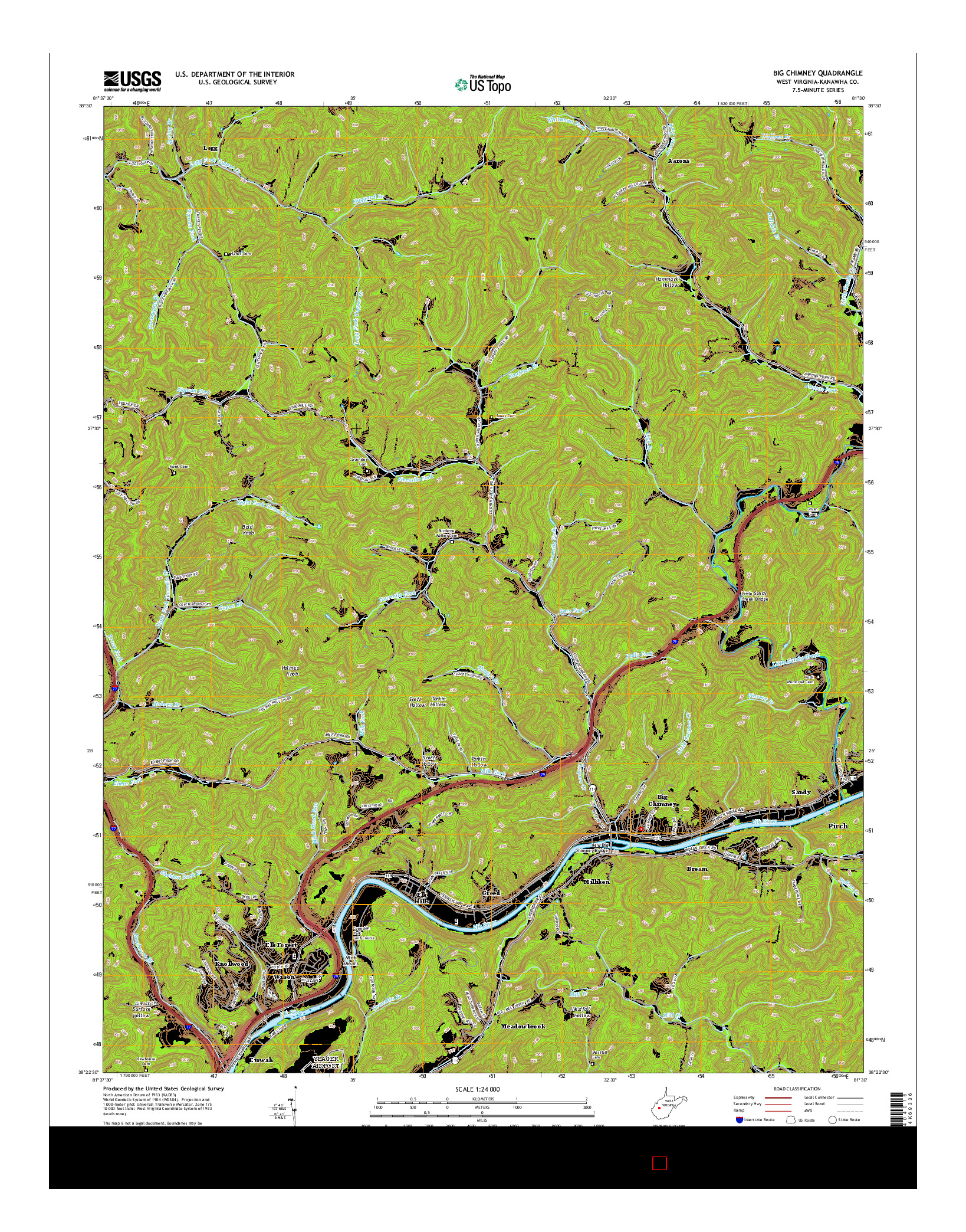 USGS US TOPO 7.5-MINUTE MAP FOR BIG CHIMNEY, WV 2014