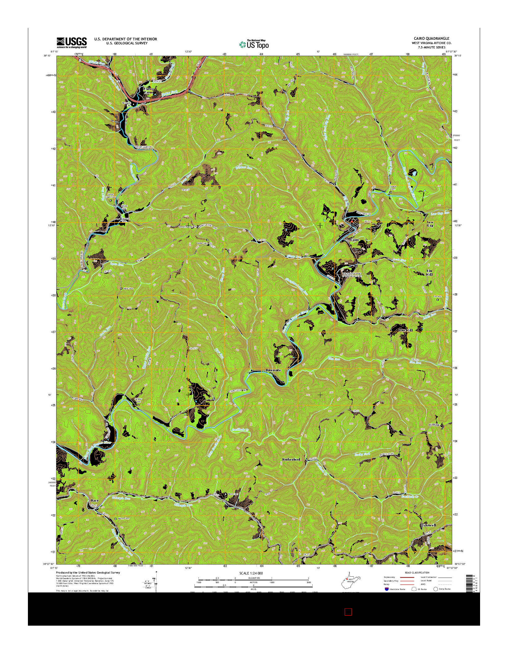 USGS US TOPO 7.5-MINUTE MAP FOR CAIRO, WV 2014