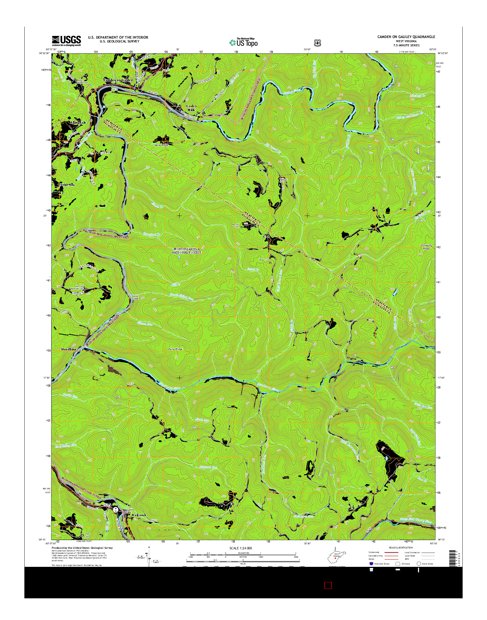 USGS US TOPO 7.5-MINUTE MAP FOR CAMDEN ON GAULEY, WV 2014