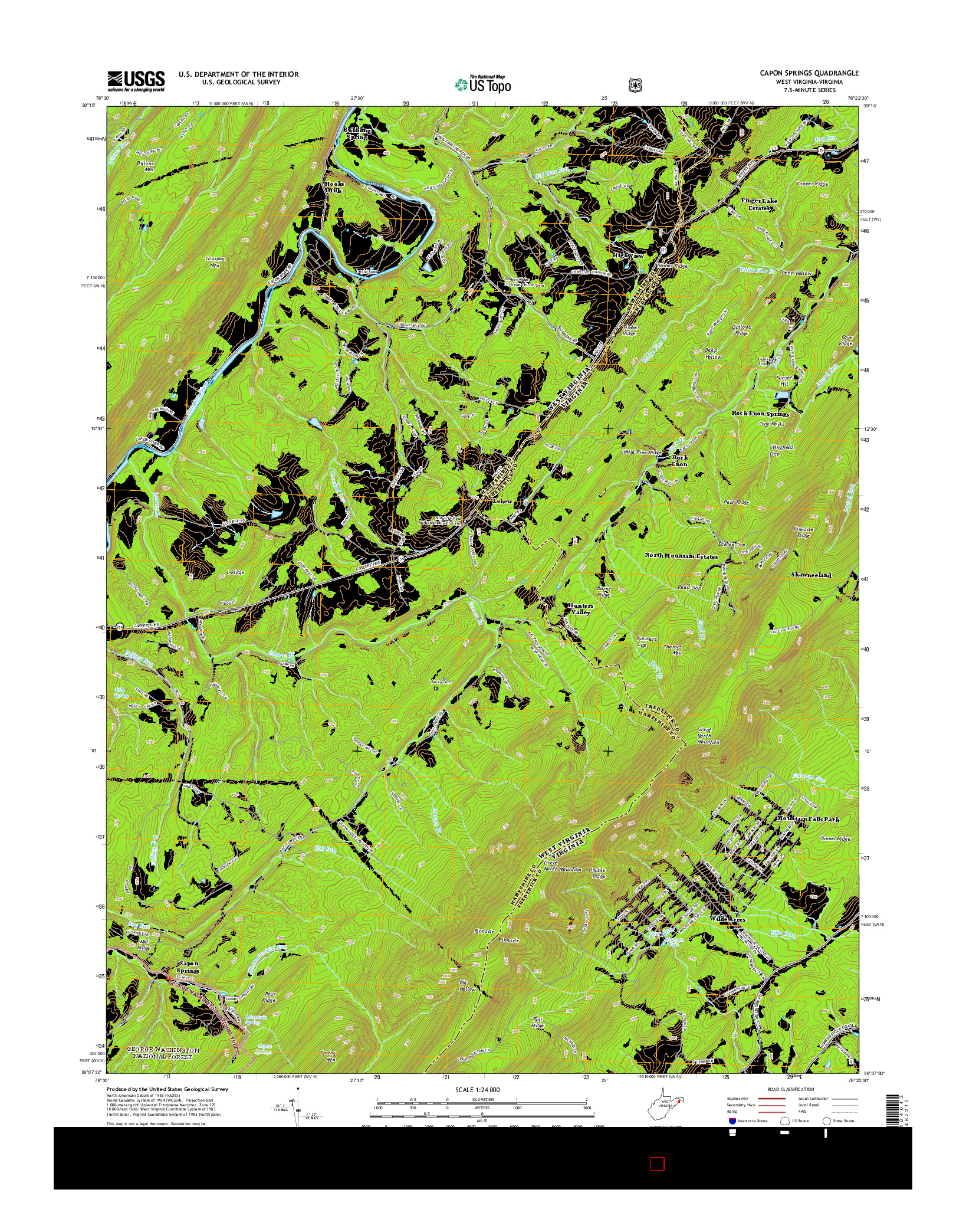 USGS US TOPO 7.5-MINUTE MAP FOR CAPON SPRINGS, WV-VA 2014