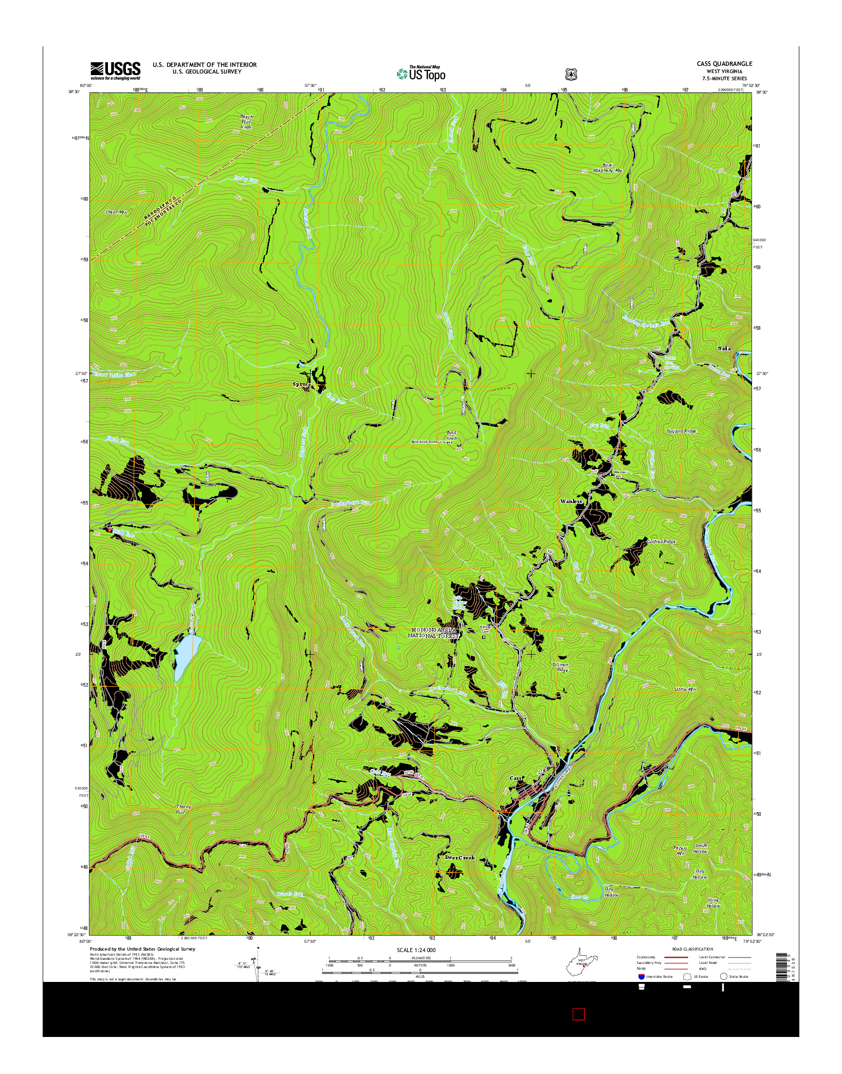USGS US TOPO 7.5-MINUTE MAP FOR CASS, WV 2014