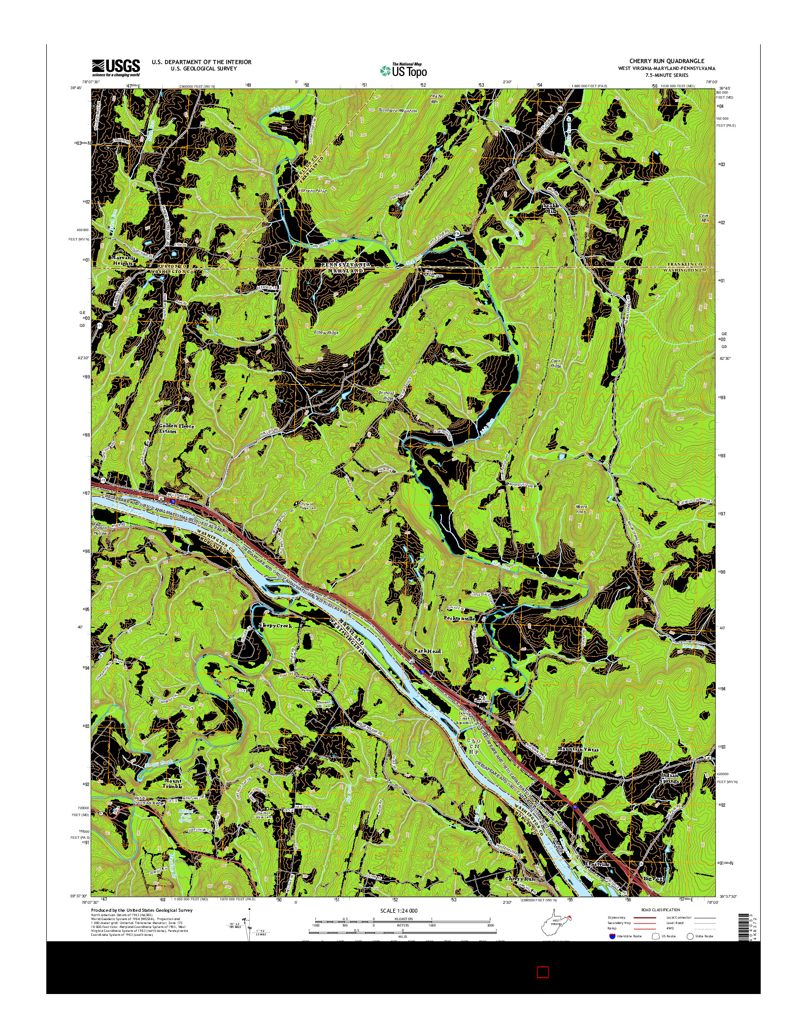USGS US TOPO 7.5-MINUTE MAP FOR CHERRY RUN, WV-MD-PA 2014