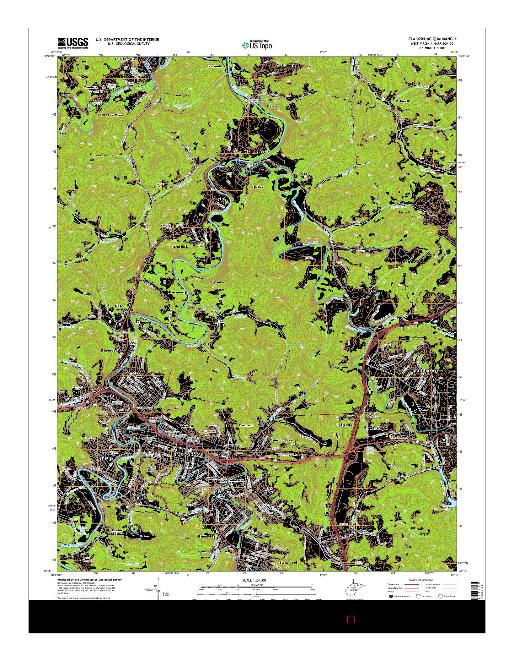 USGS US TOPO 7.5-MINUTE MAP FOR CLARKSBURG, WV 2014