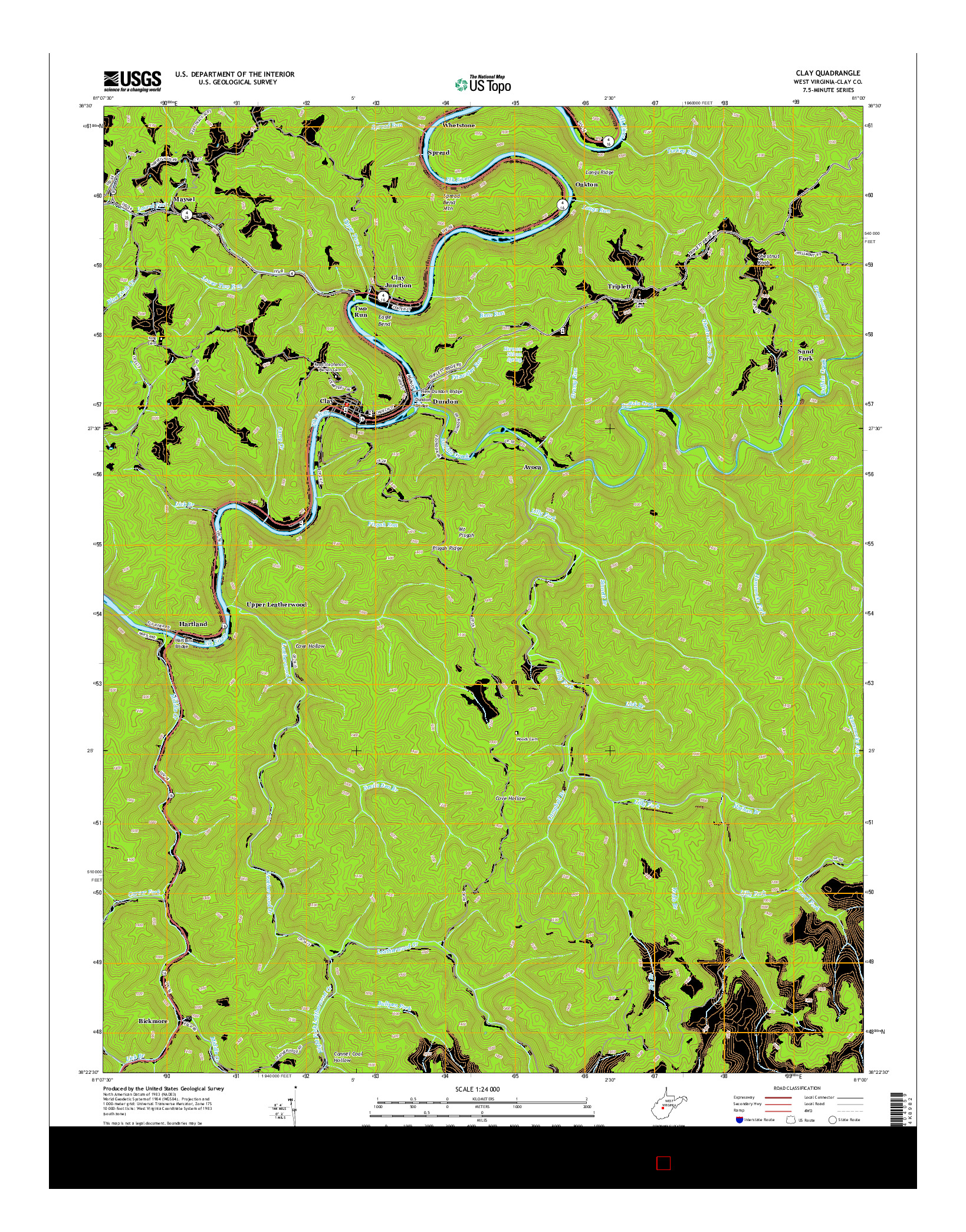 USGS US TOPO 7.5-MINUTE MAP FOR CLAY, WV 2014