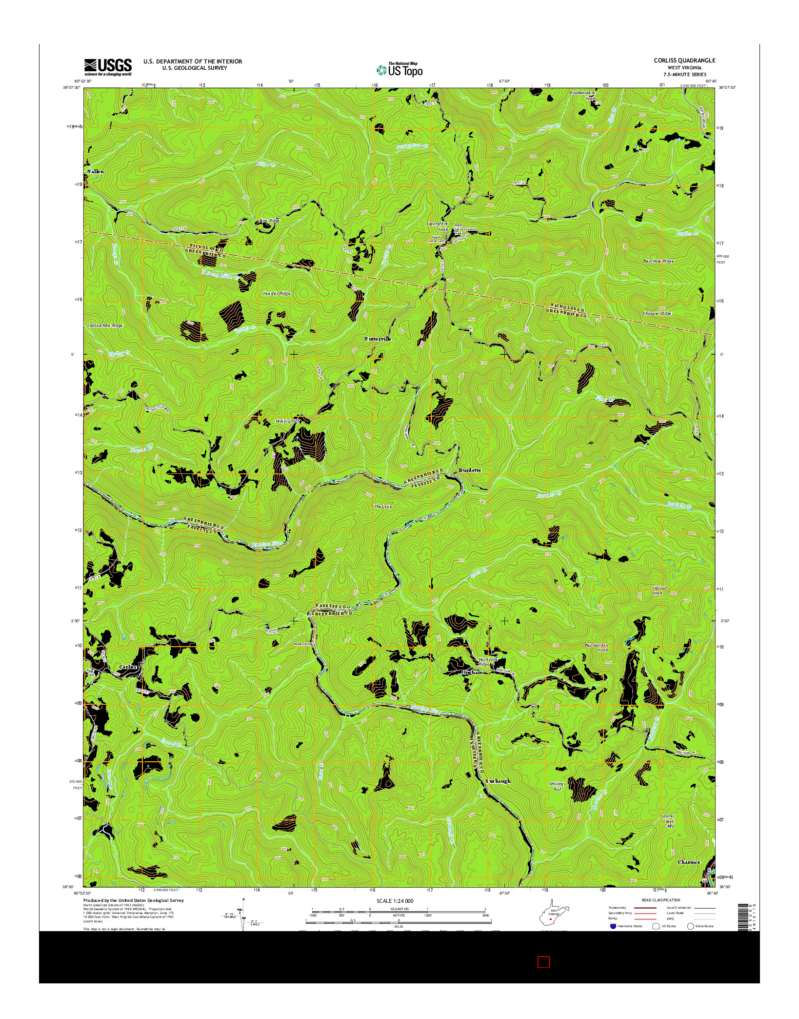 USGS US TOPO 7.5-MINUTE MAP FOR CORLISS, WV 2014