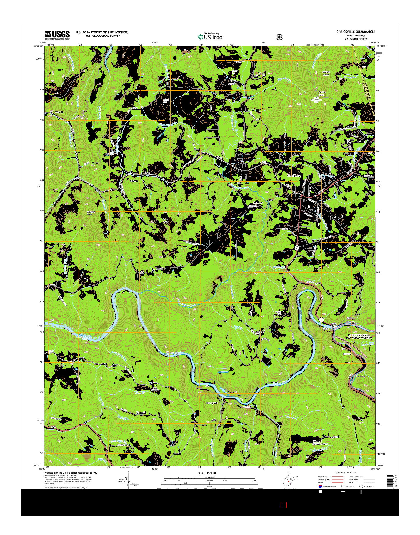 USGS US TOPO 7.5-MINUTE MAP FOR CRAIGSVILLE, WV 2014