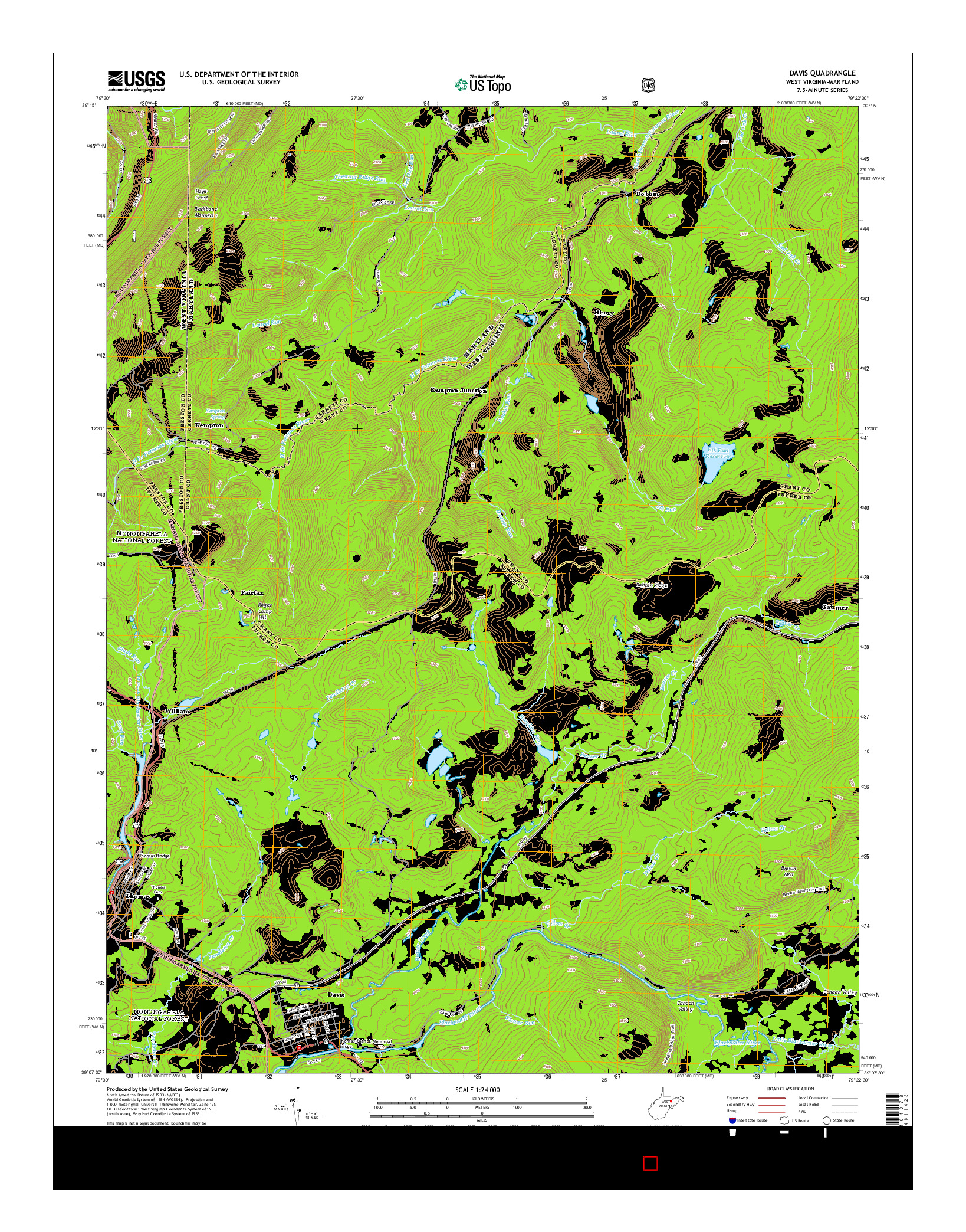 USGS US TOPO 7.5-MINUTE MAP FOR DAVIS, WV-MD 2014