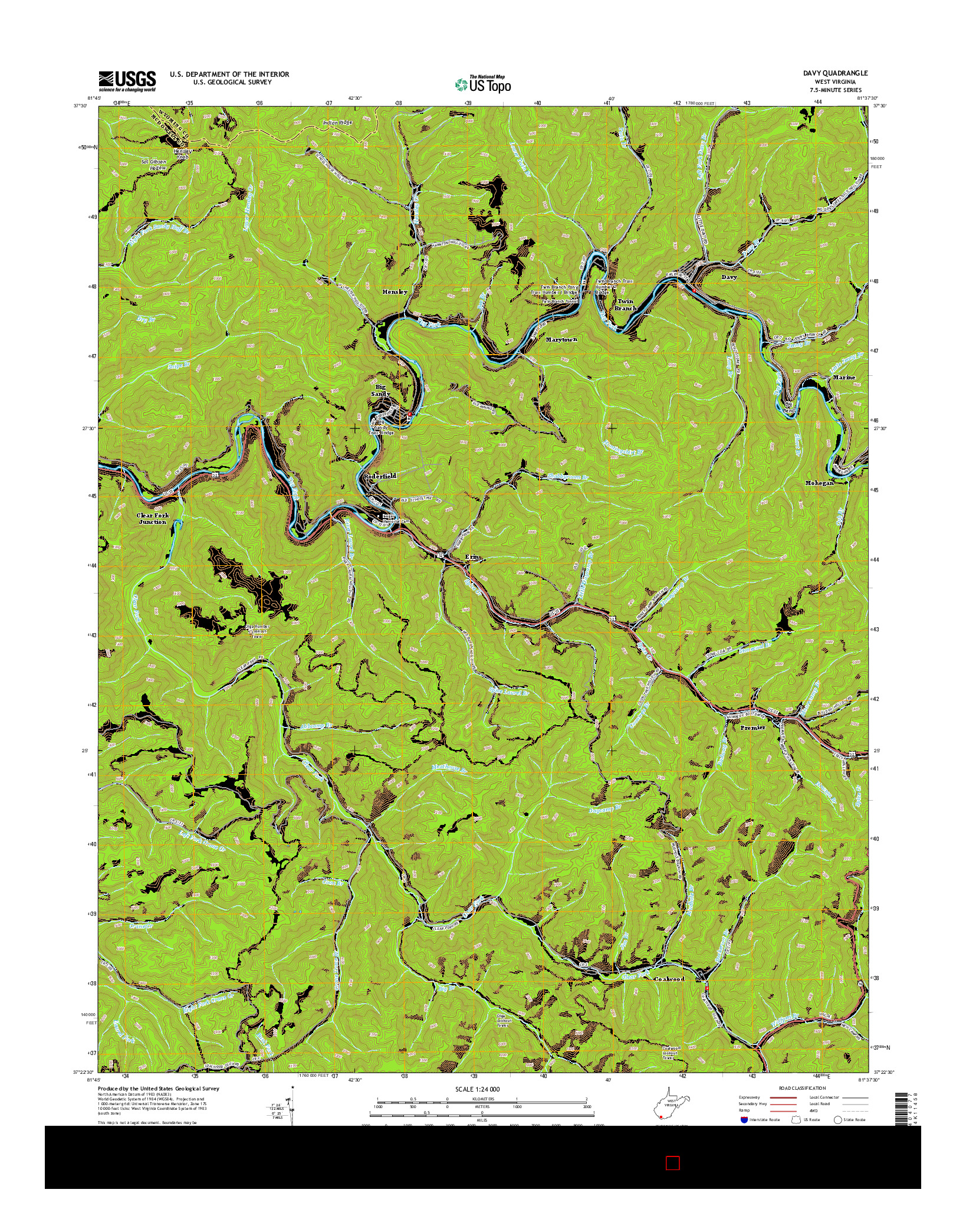 USGS US TOPO 7.5-MINUTE MAP FOR DAVY, WV 2014