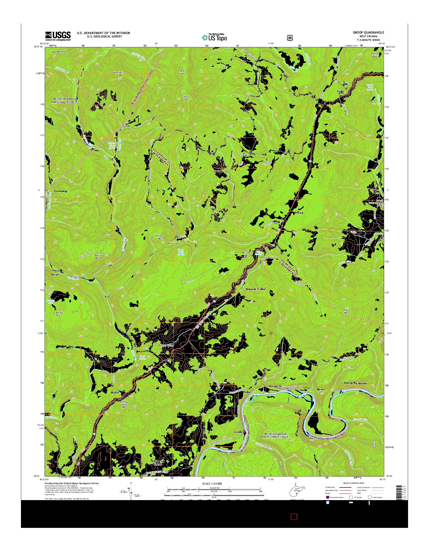 USGS US TOPO 7.5-MINUTE MAP FOR DROOP, WV 2014