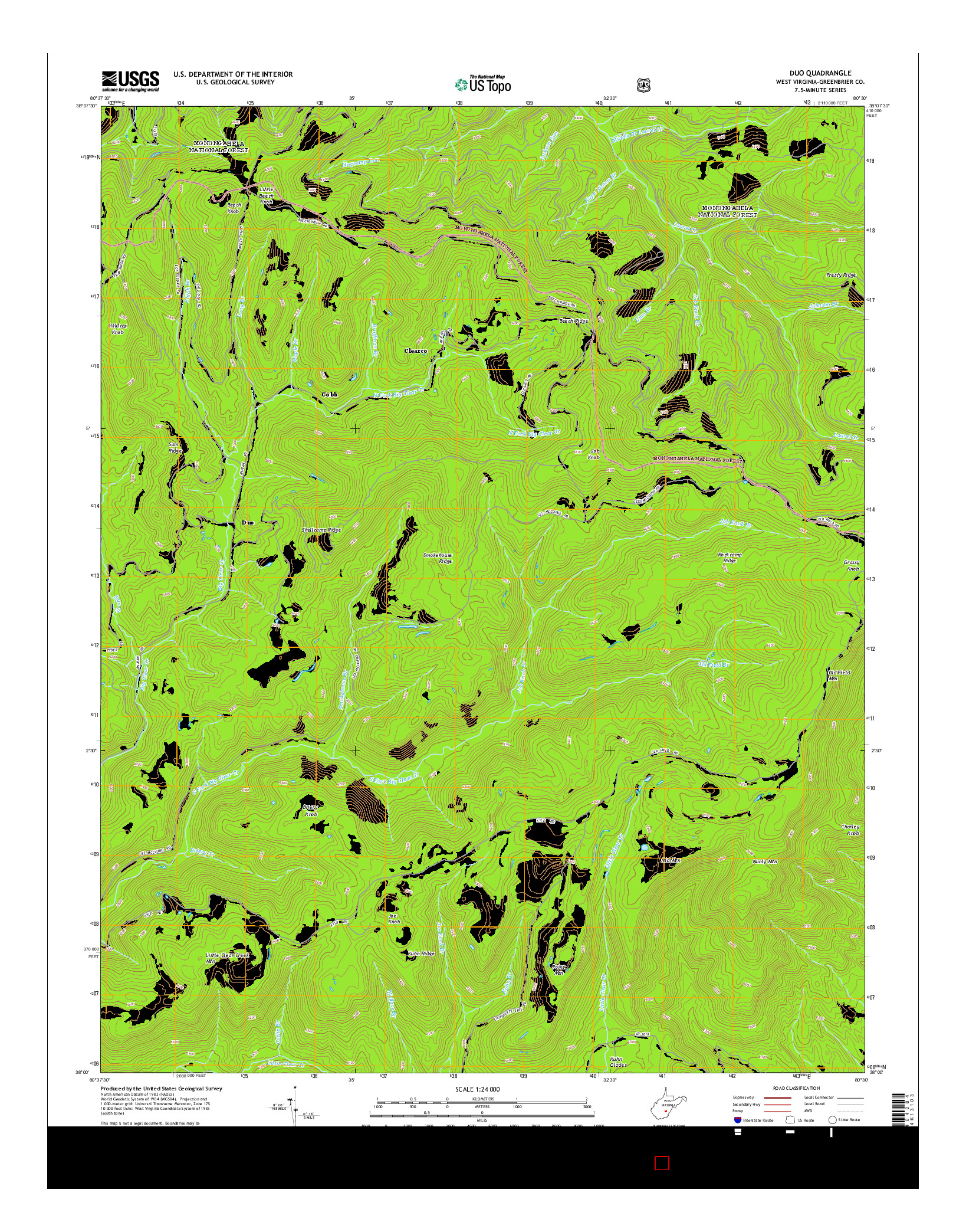 USGS US TOPO 7.5-MINUTE MAP FOR DUO, WV 2014