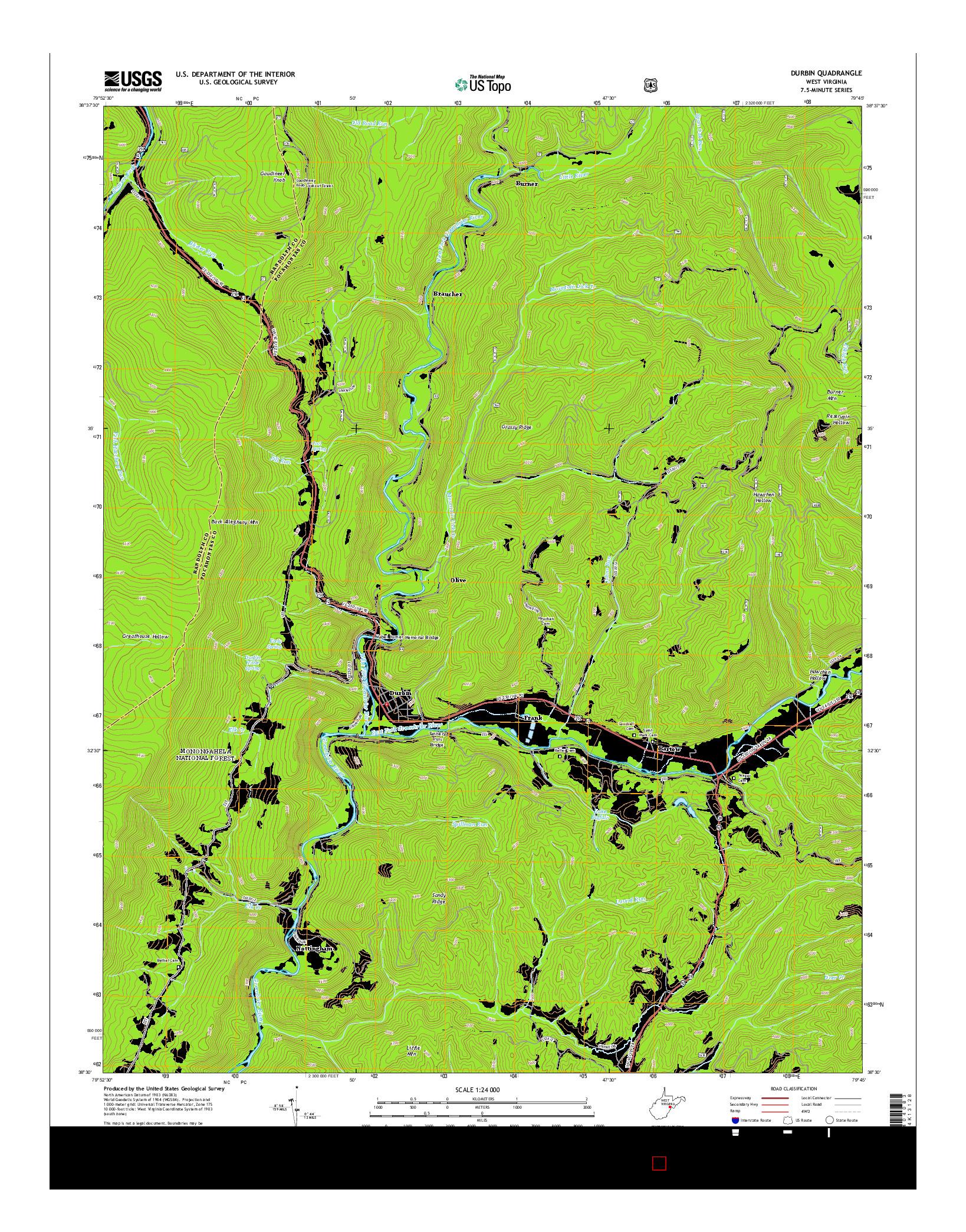 USGS US TOPO 7.5-MINUTE MAP FOR DURBIN, WV 2014