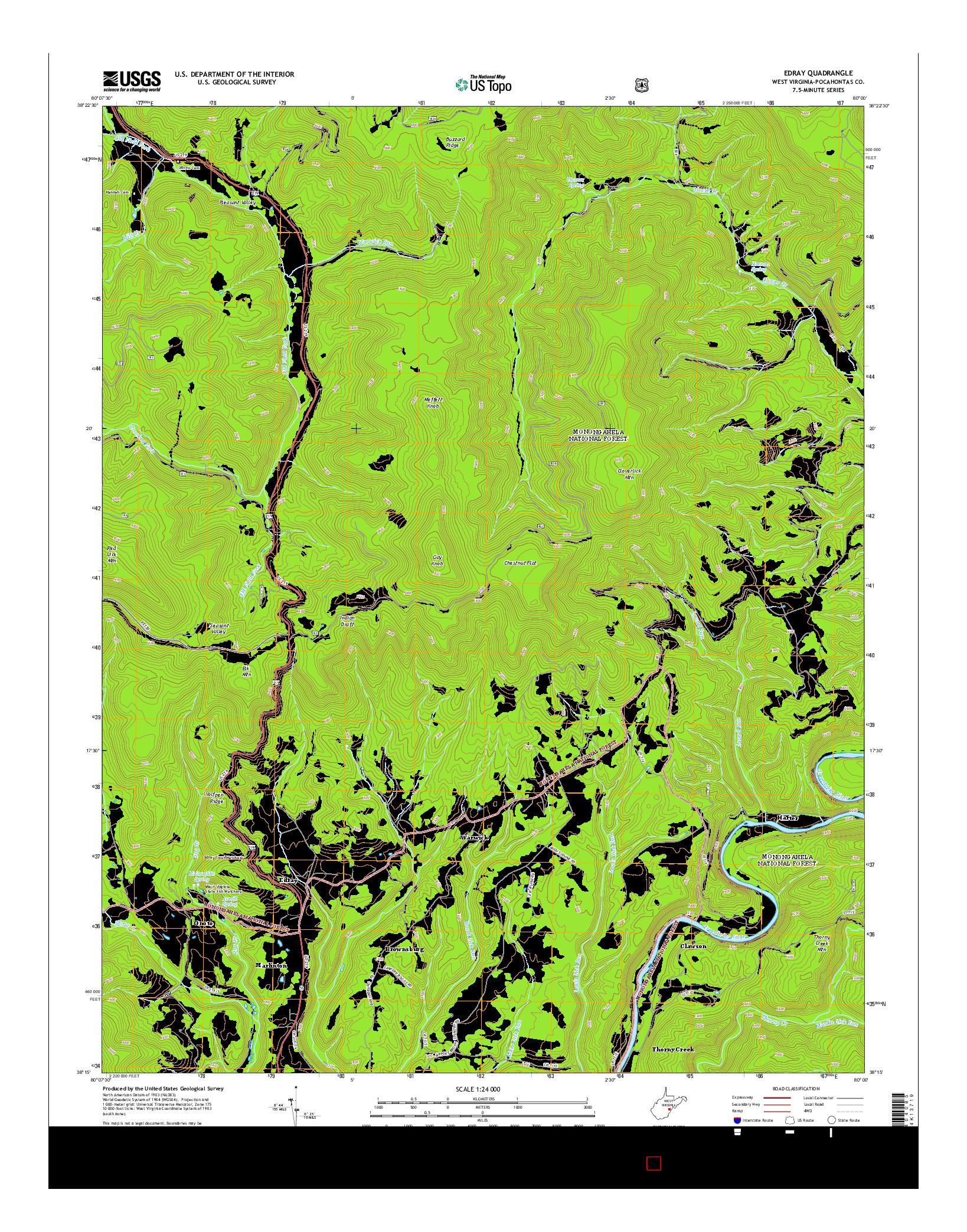 USGS US TOPO 7.5-MINUTE MAP FOR EDRAY, WV 2014