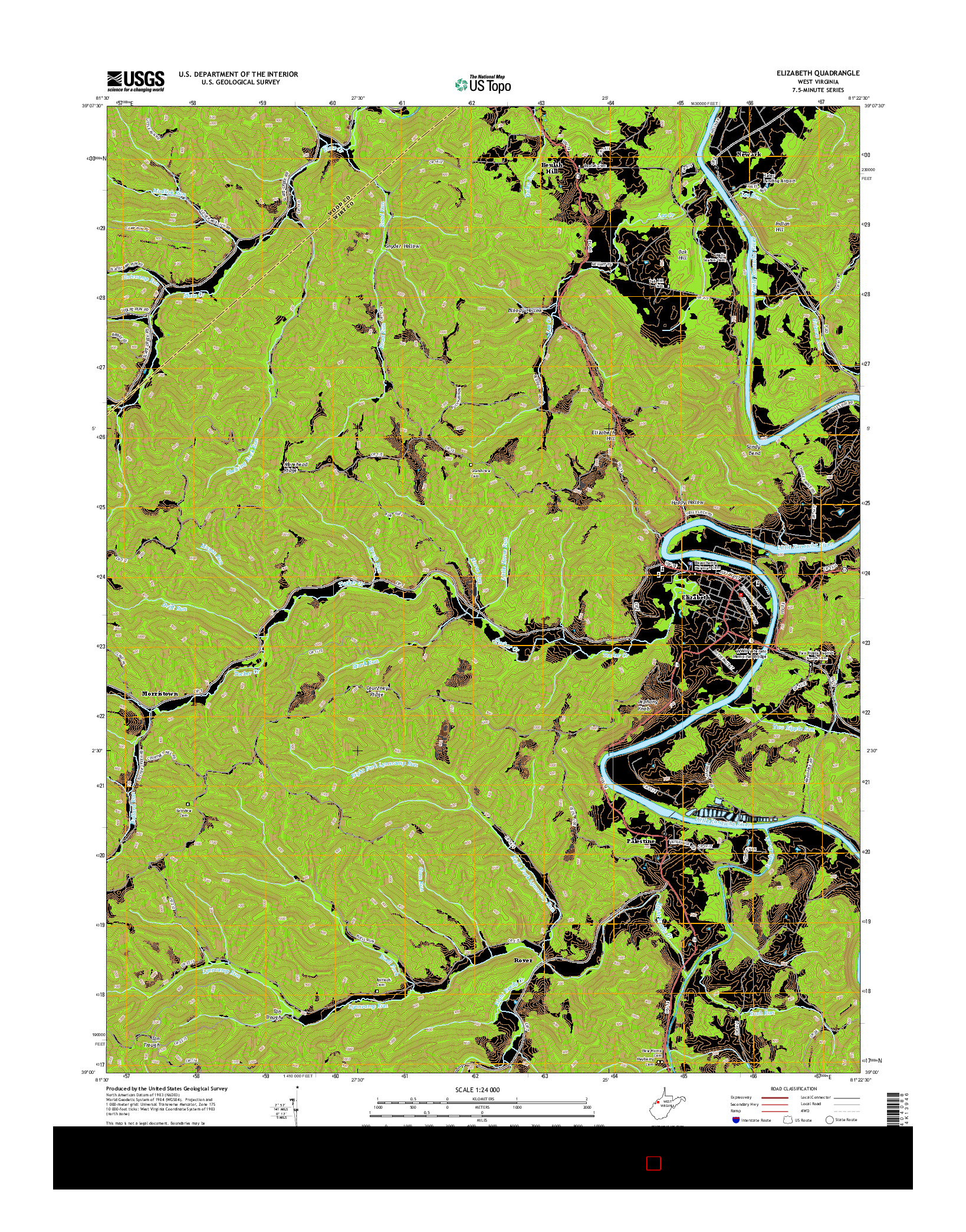 USGS US TOPO 7.5-MINUTE MAP FOR ELIZABETH, WV 2014