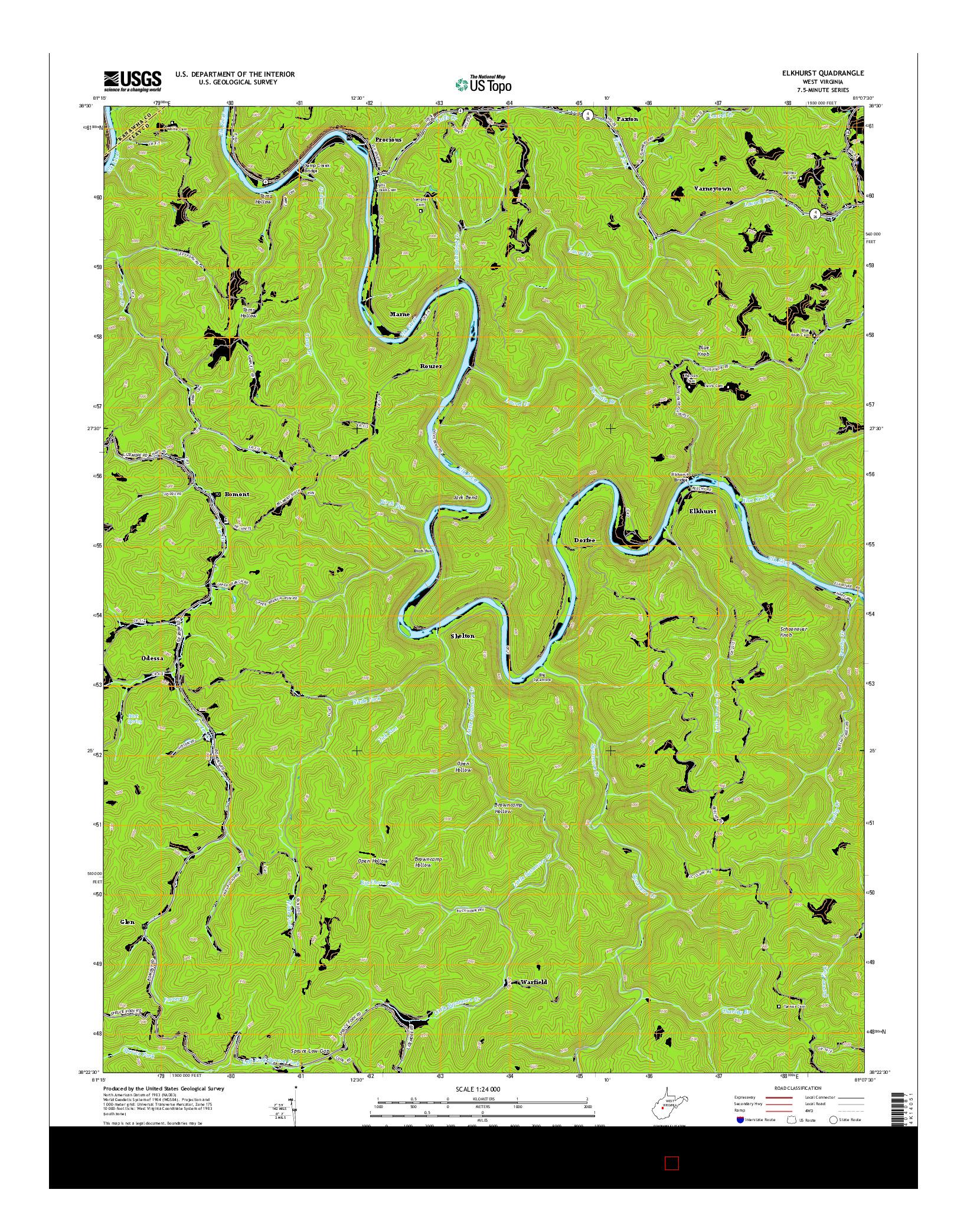 USGS US TOPO 7.5-MINUTE MAP FOR ELKHURST, WV 2014