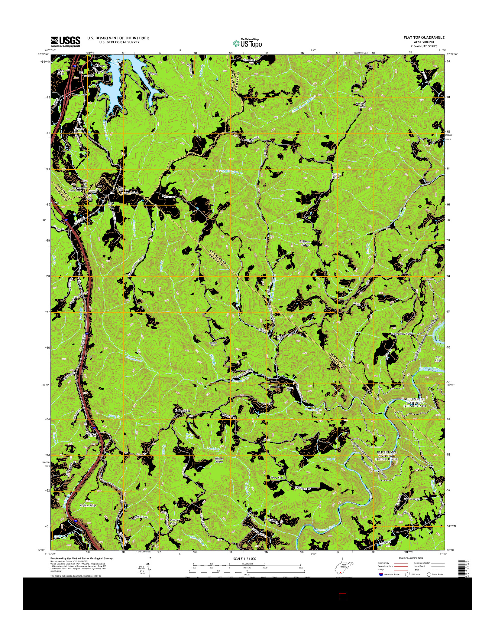 USGS US TOPO 7.5-MINUTE MAP FOR FLAT TOP, WV 2014