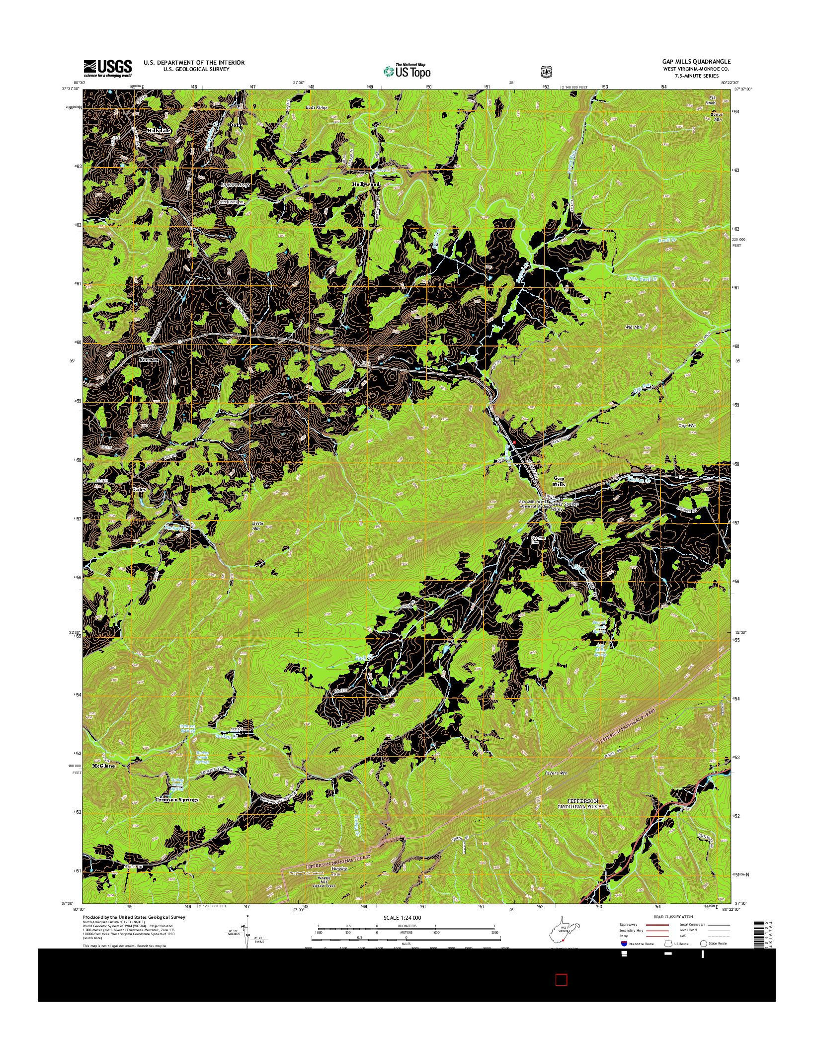 USGS US TOPO 7.5-MINUTE MAP FOR GAP MILLS, WV 2014