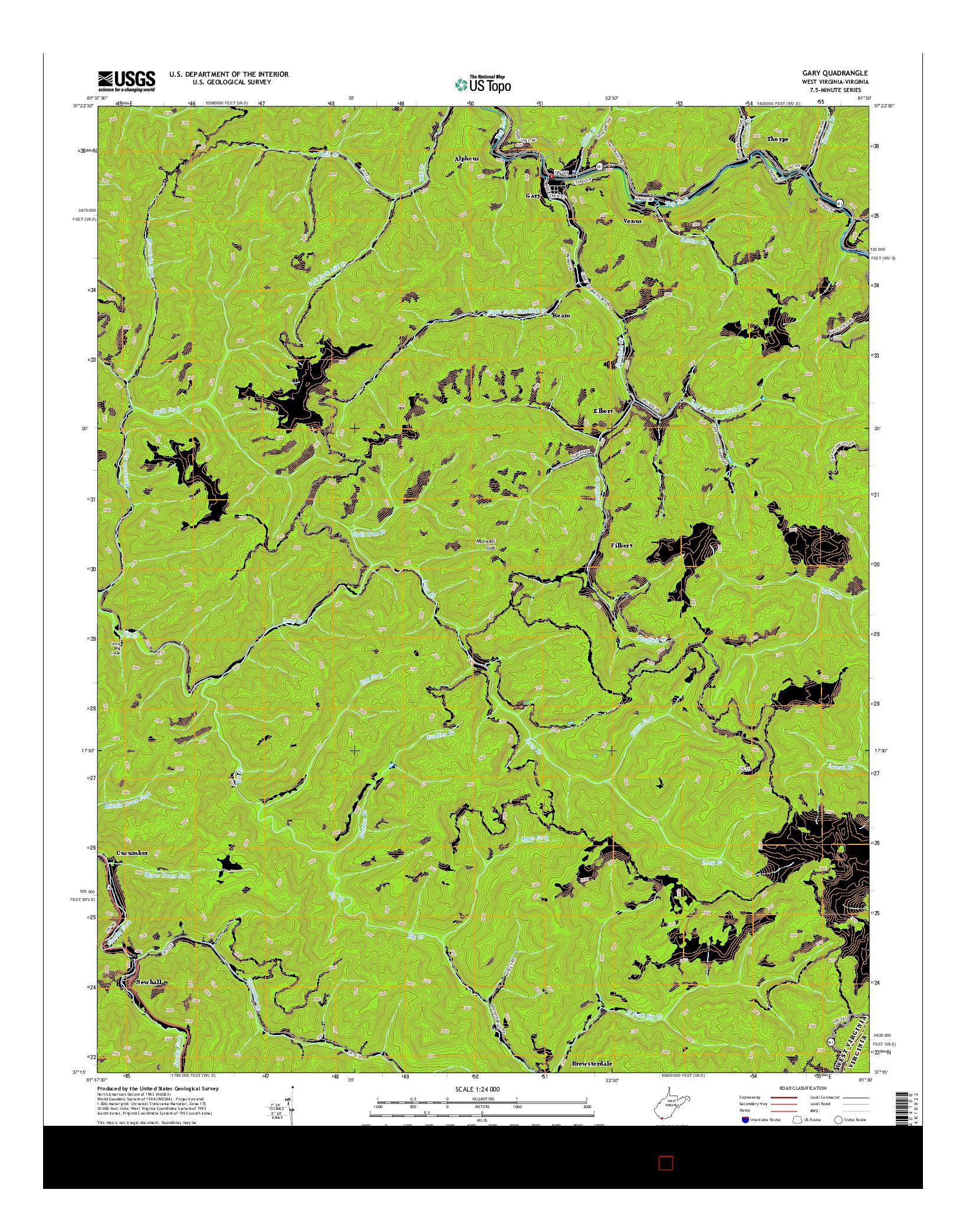 USGS US TOPO 7.5-MINUTE MAP FOR GARY, WV-VA 2014
