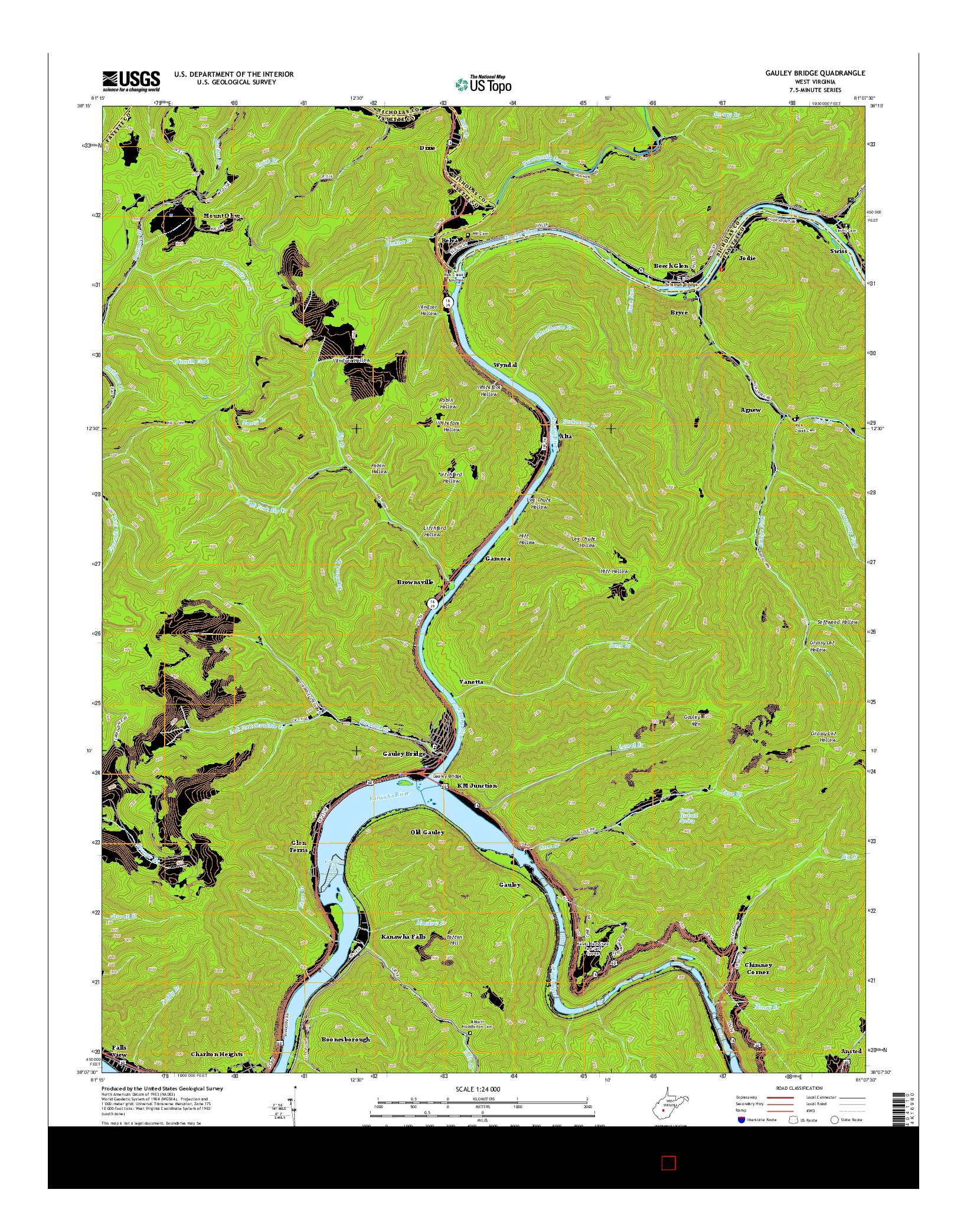 USGS US TOPO 7.5-MINUTE MAP FOR GAULEY BRIDGE, WV 2014
