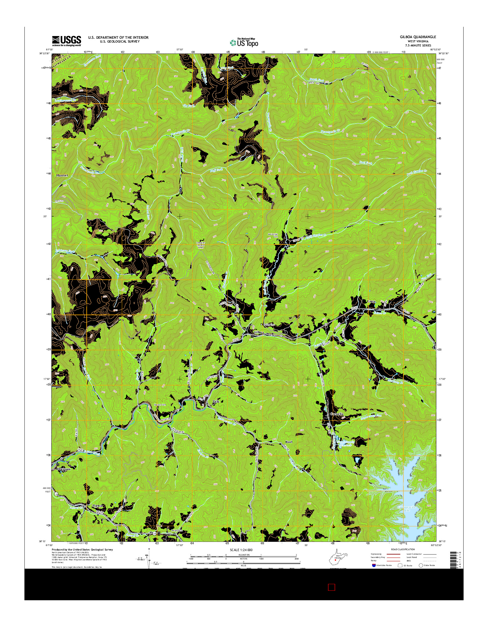 USGS US TOPO 7.5-MINUTE MAP FOR GILBOA, WV 2014