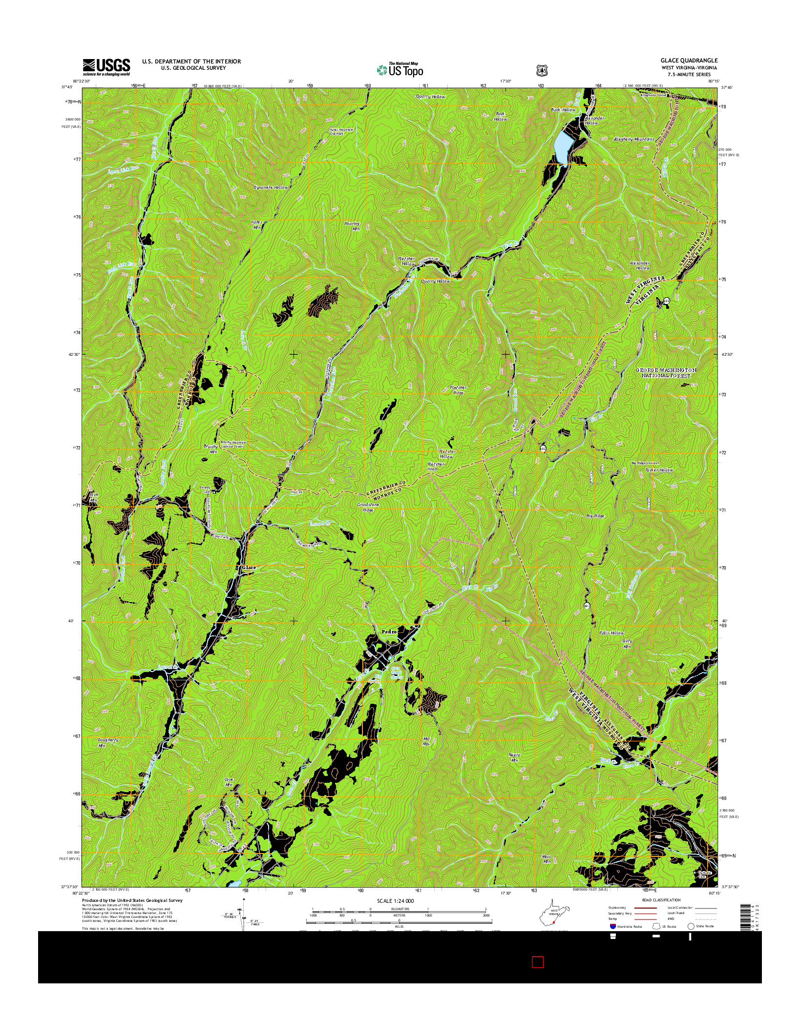 USGS US TOPO 7.5-MINUTE MAP FOR GLACE, WV-VA 2014