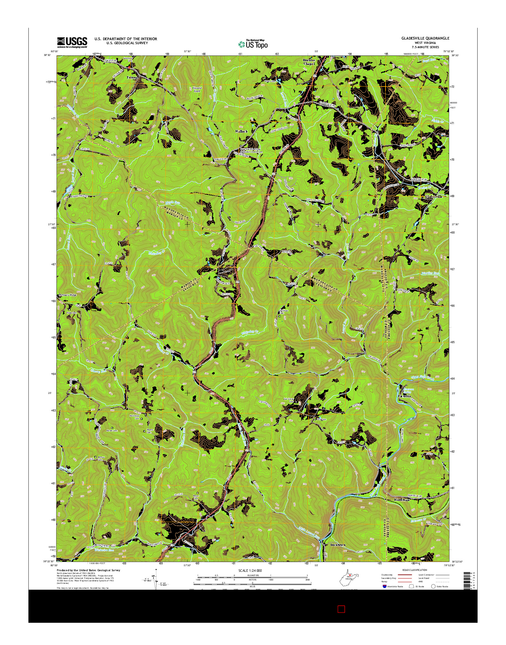 USGS US TOPO 7.5-MINUTE MAP FOR GLADESVILLE, WV 2014