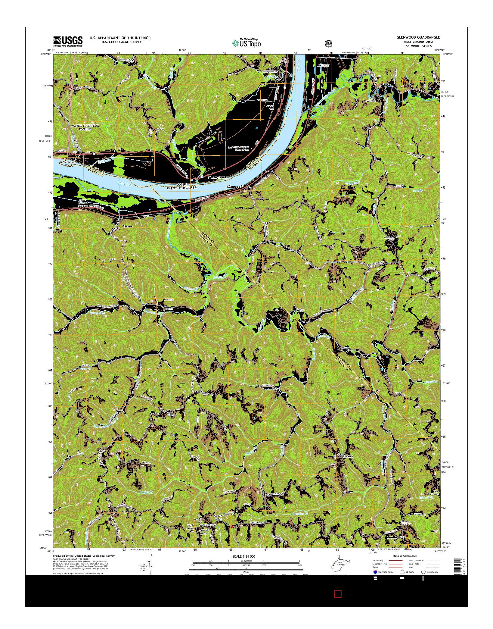 USGS US TOPO 7.5-MINUTE MAP FOR GLENWOOD, WV-OH 2014