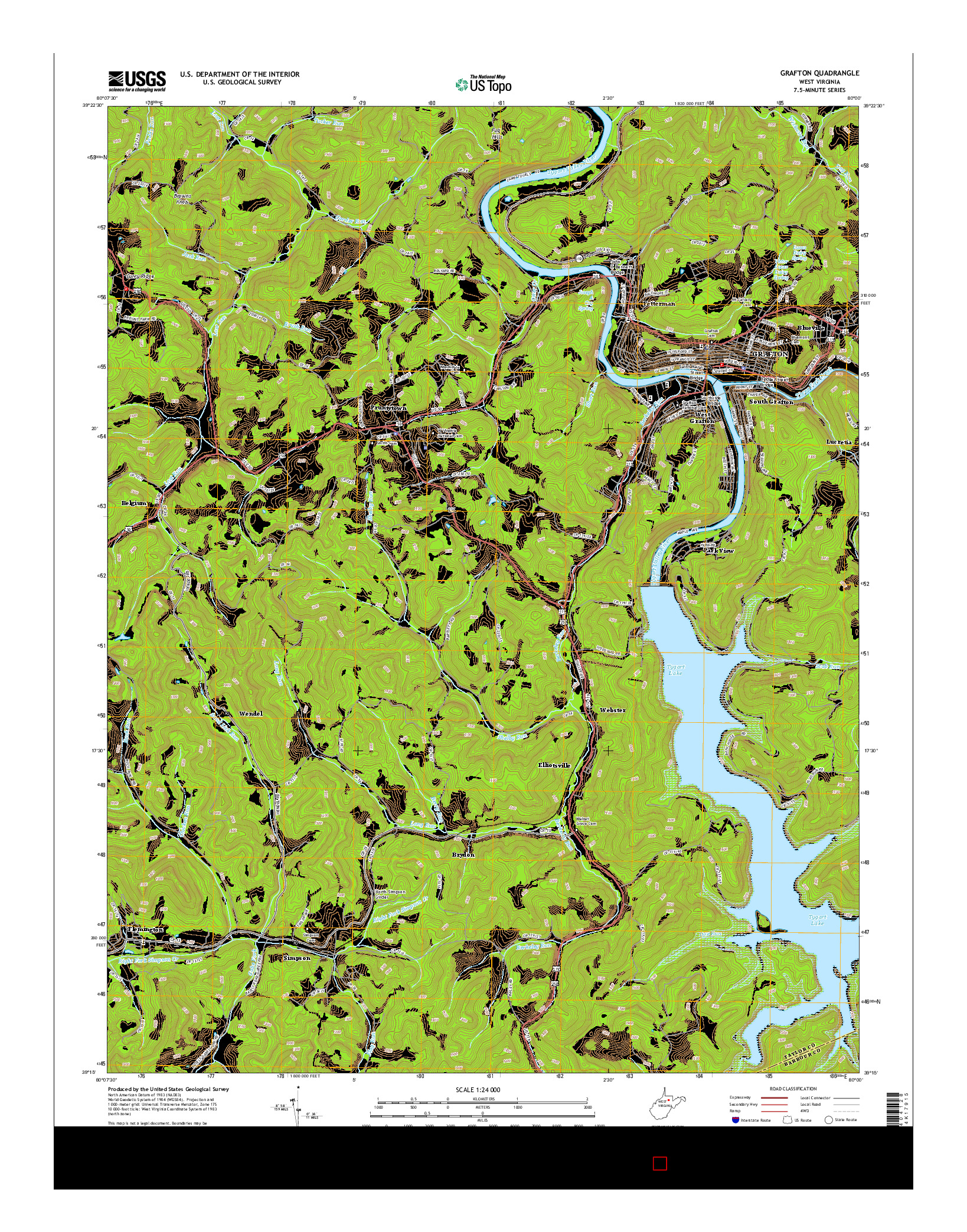 USGS US TOPO 7.5-MINUTE MAP FOR GRAFTON, WV 2014