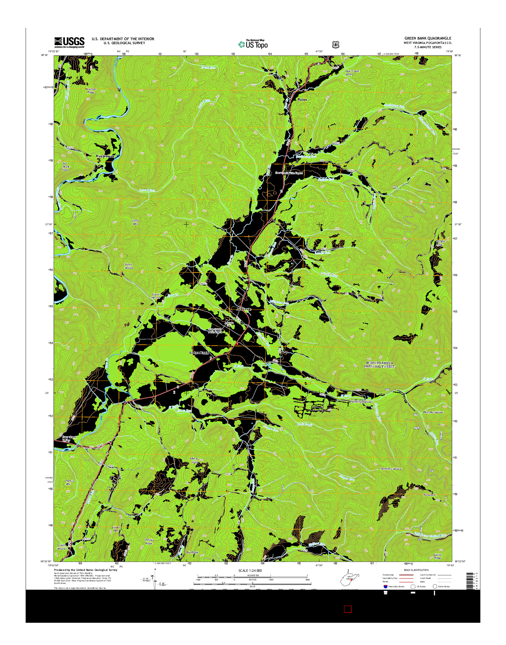 USGS US TOPO 7.5-MINUTE MAP FOR GREEN BANK, WV 2014