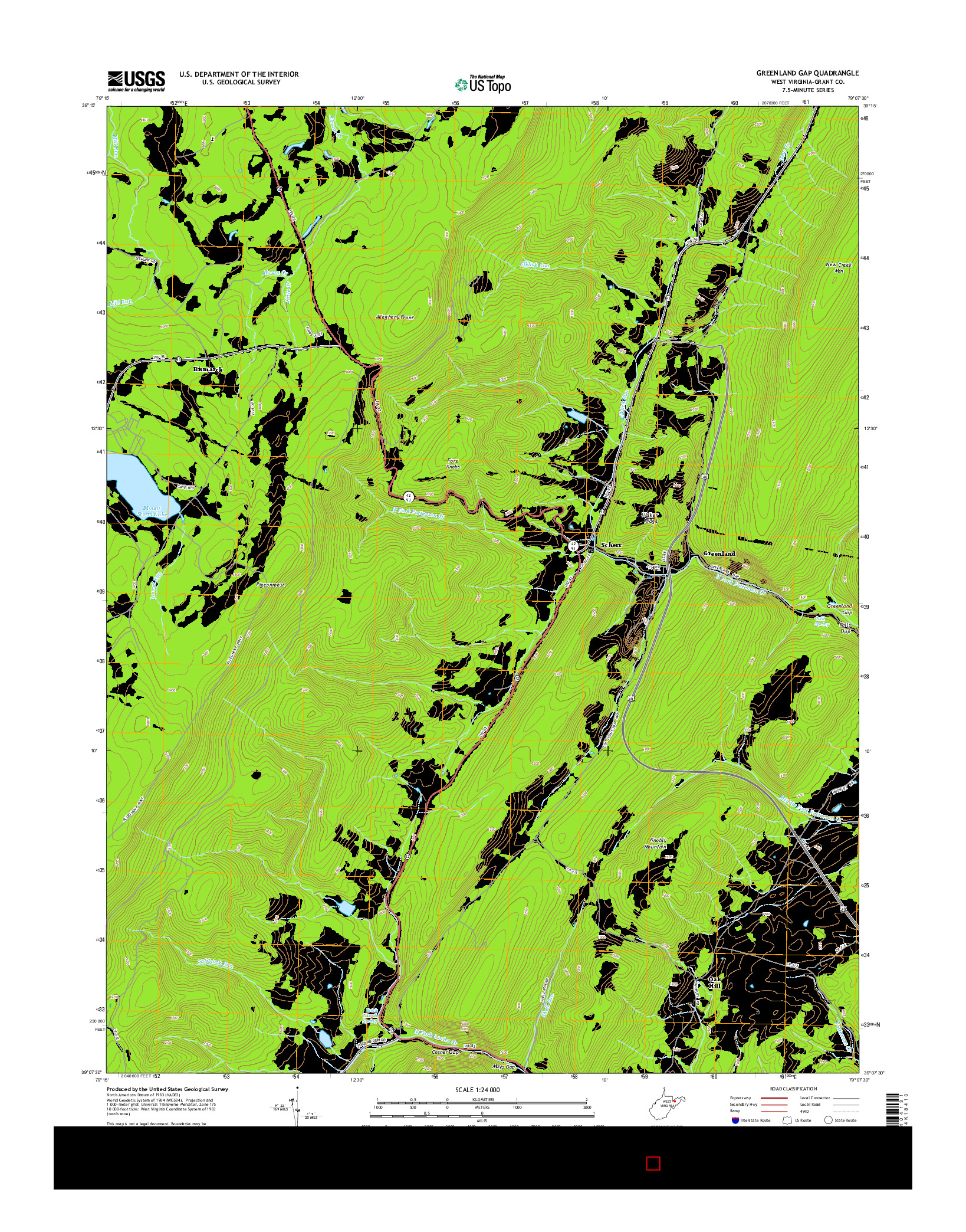 USGS US TOPO 7.5-MINUTE MAP FOR GREENLAND GAP, WV 2014
