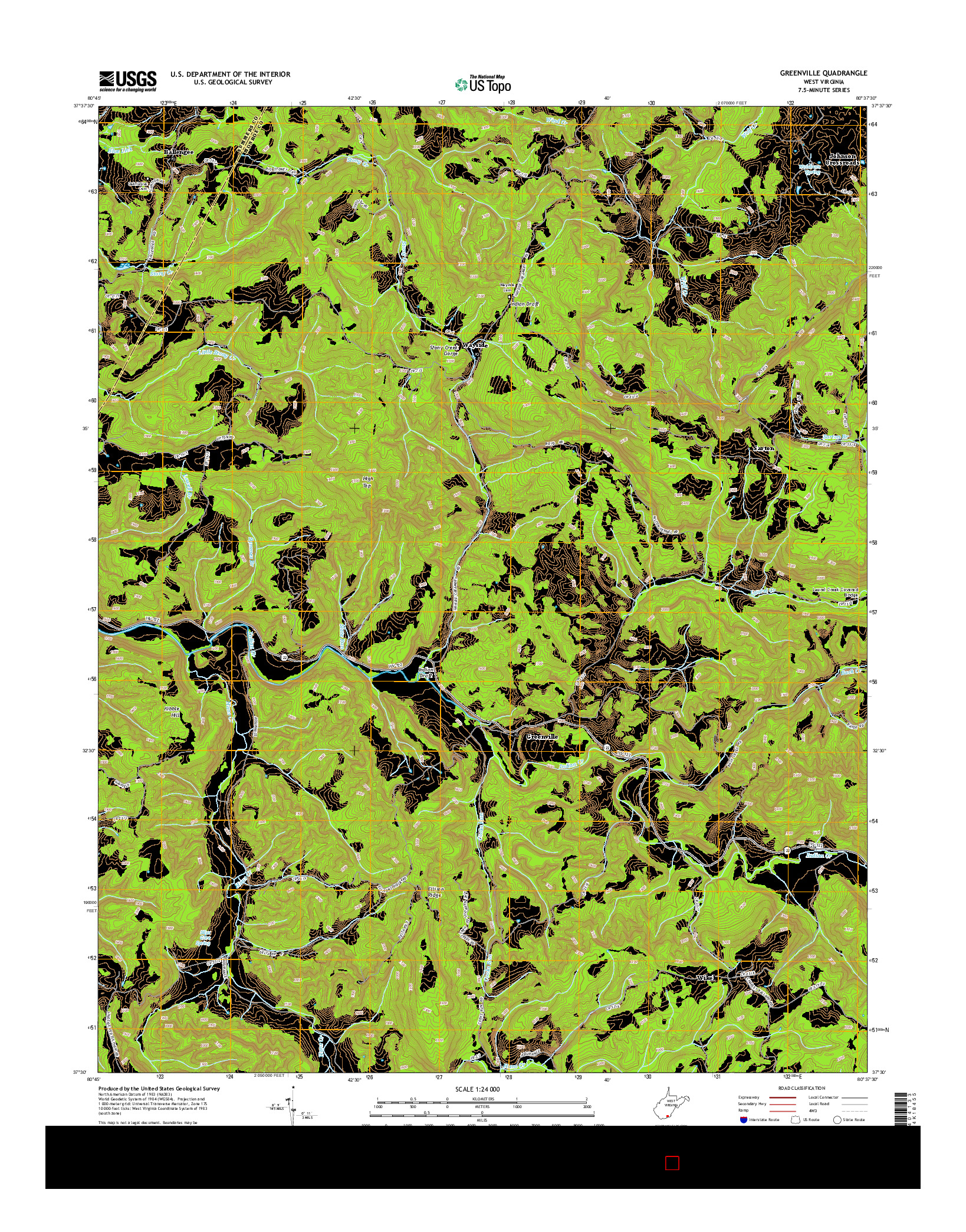 USGS US TOPO 7.5-MINUTE MAP FOR GREENVILLE, WV 2014