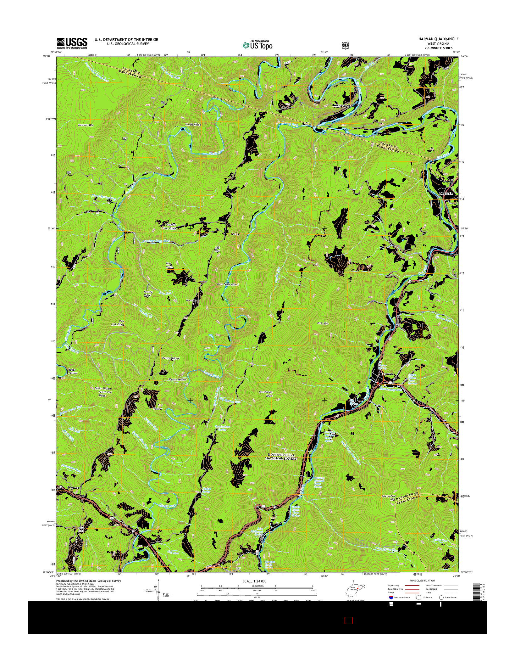 USGS US TOPO 7.5-MINUTE MAP FOR HARMAN, WV 2014