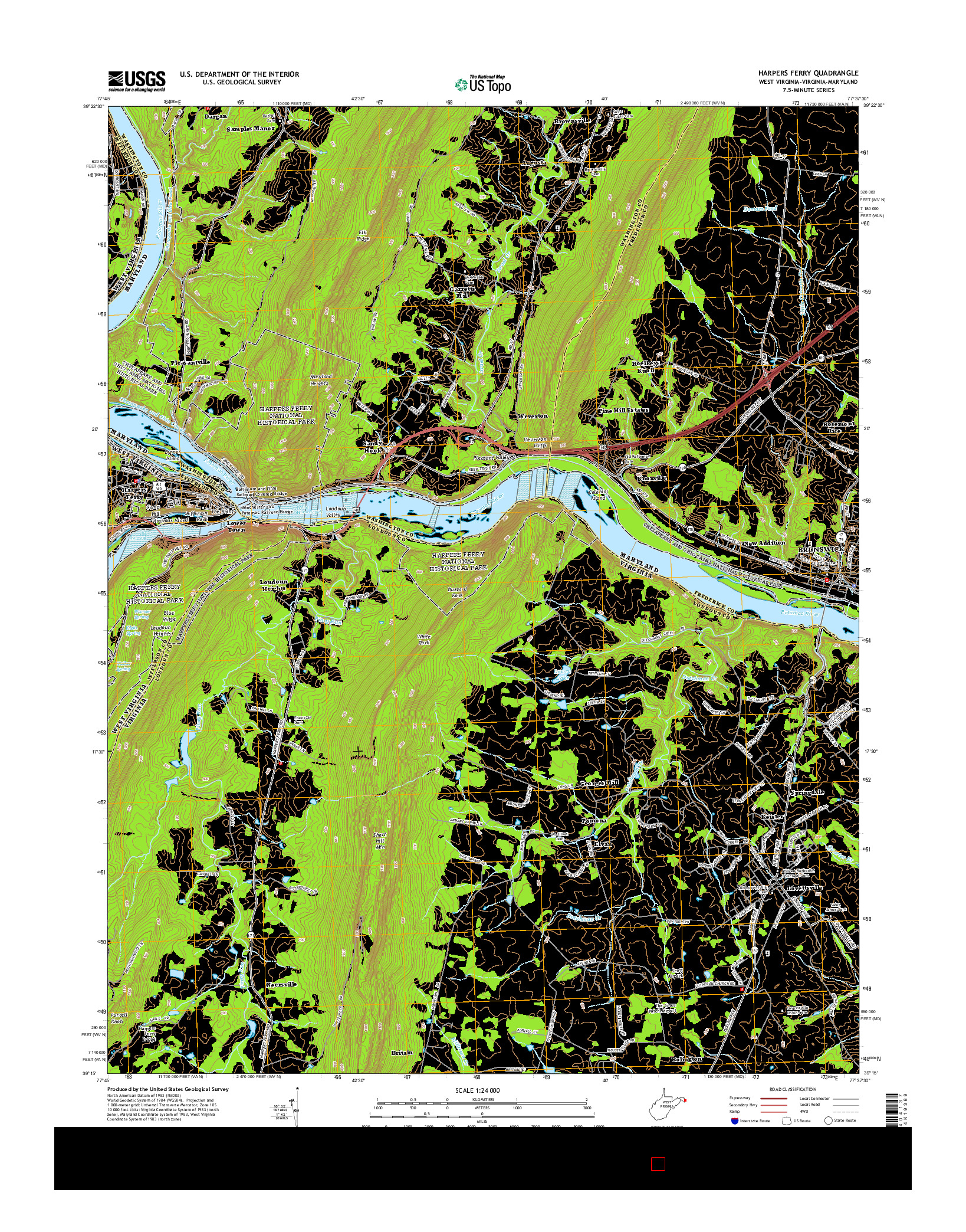 USGS US TOPO 7.5-MINUTE MAP FOR HARPERS FERRY, WV-VA-MD 2014