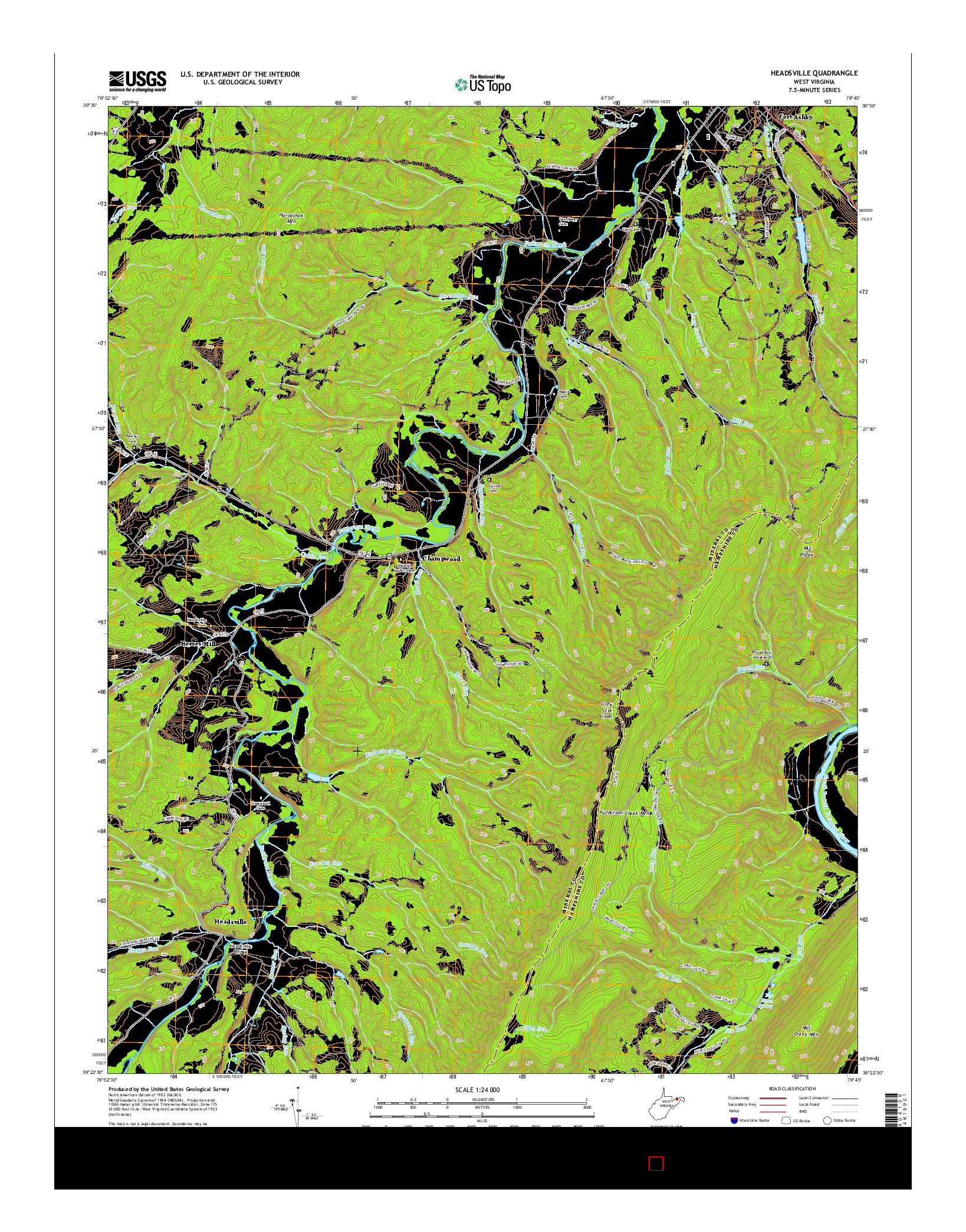 USGS US TOPO 7.5-MINUTE MAP FOR HEADSVILLE, WV 2014
