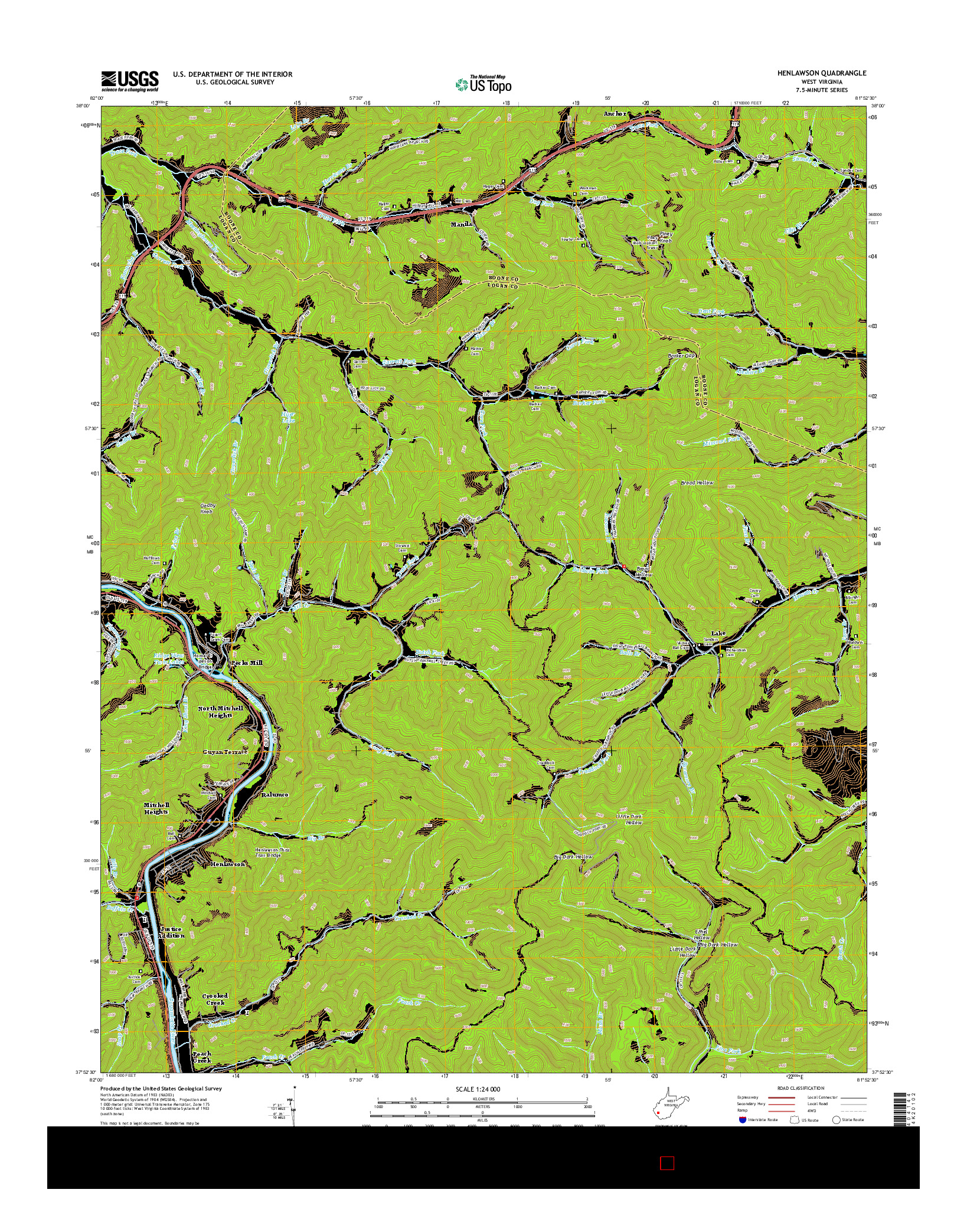 USGS US TOPO 7.5-MINUTE MAP FOR HENLAWSON, WV 2014