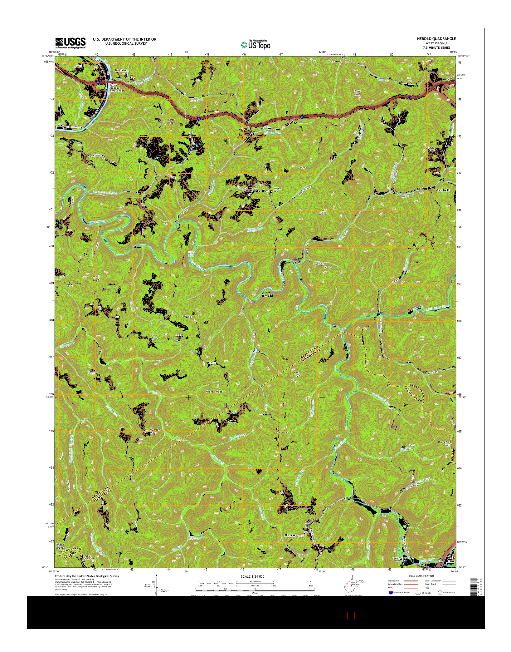 USGS US TOPO 7.5-MINUTE MAP FOR HEROLD, WV 2014