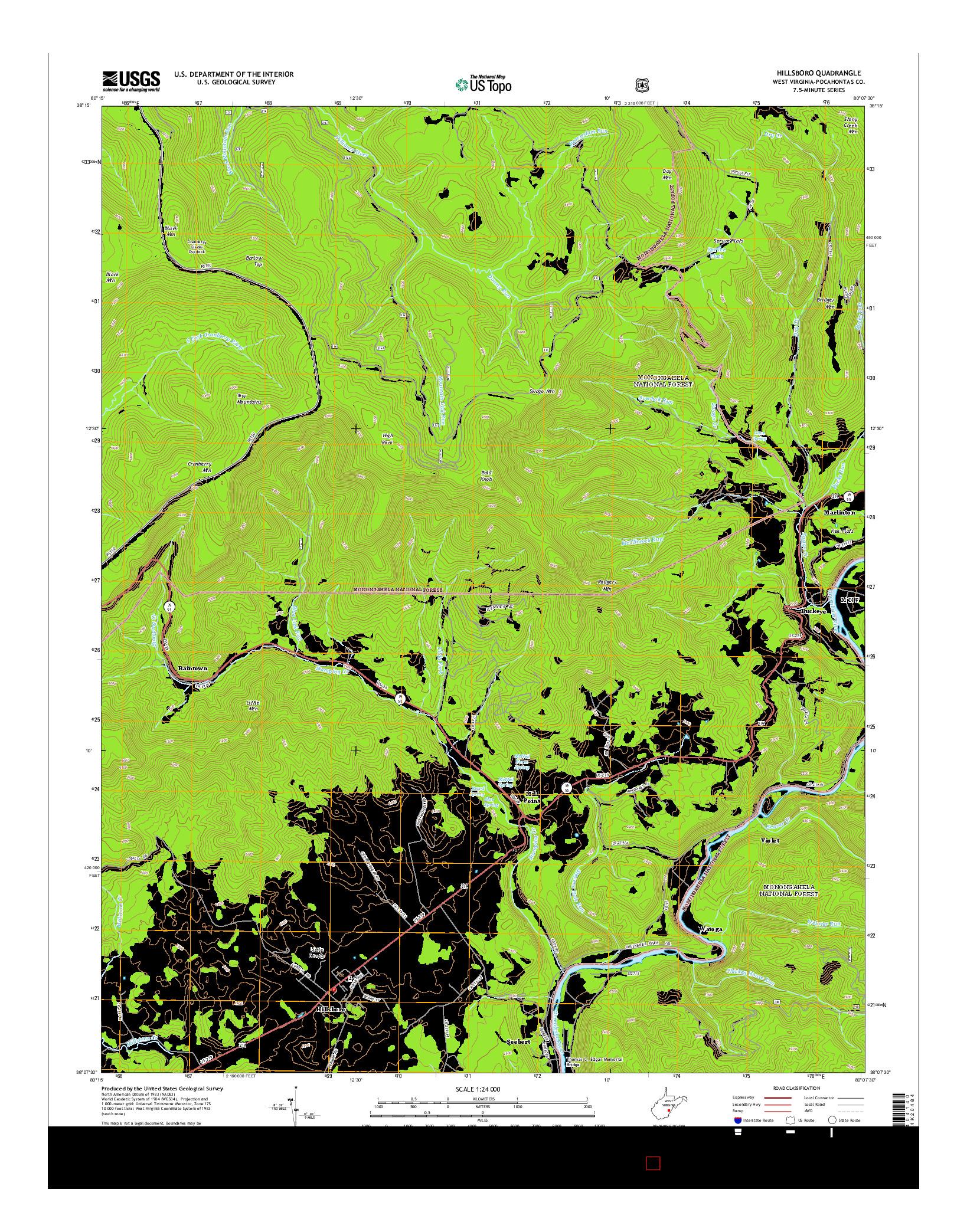 USGS US TOPO 7.5-MINUTE MAP FOR HILLSBORO, WV 2014