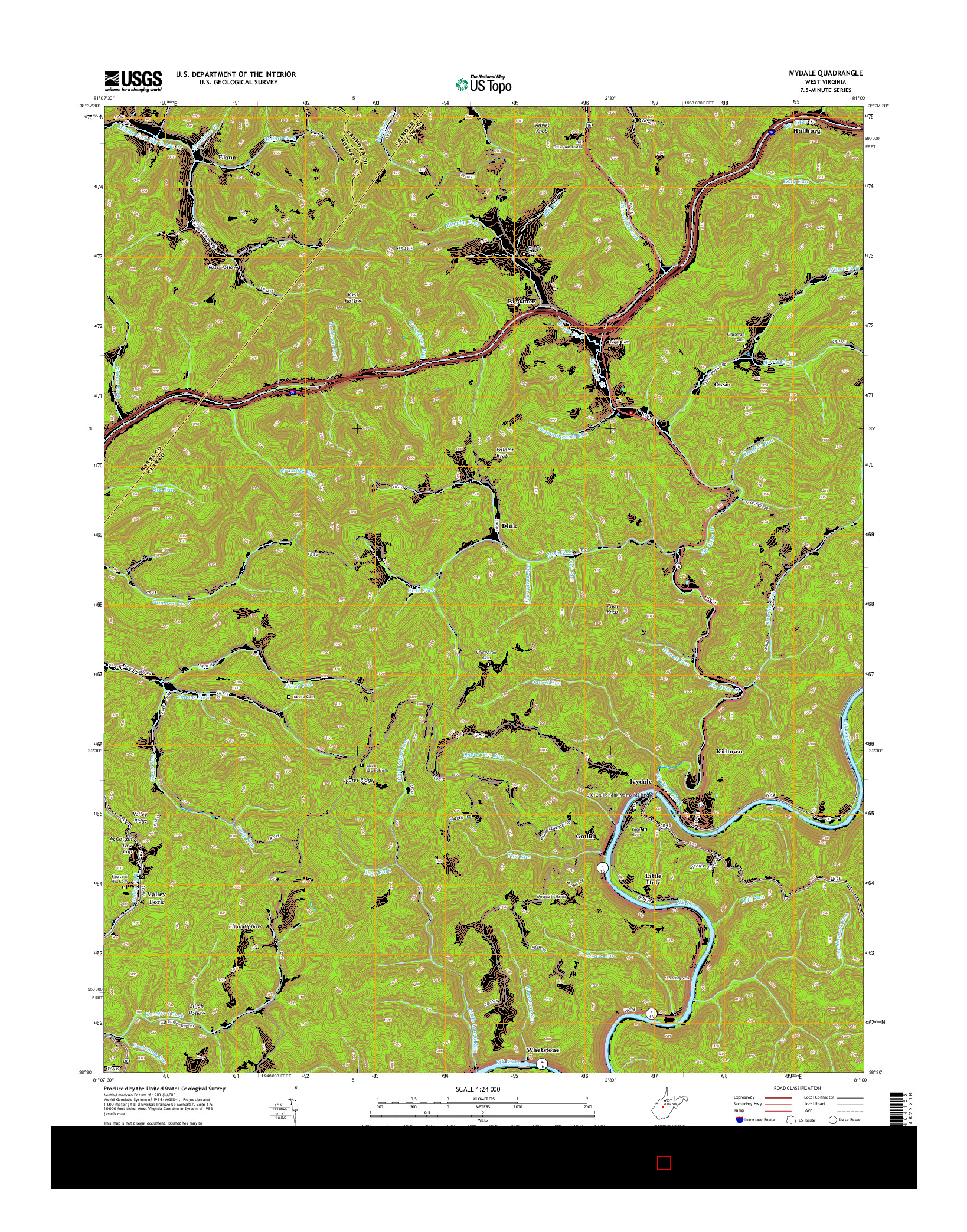 USGS US TOPO 7.5-MINUTE MAP FOR IVYDALE, WV 2014