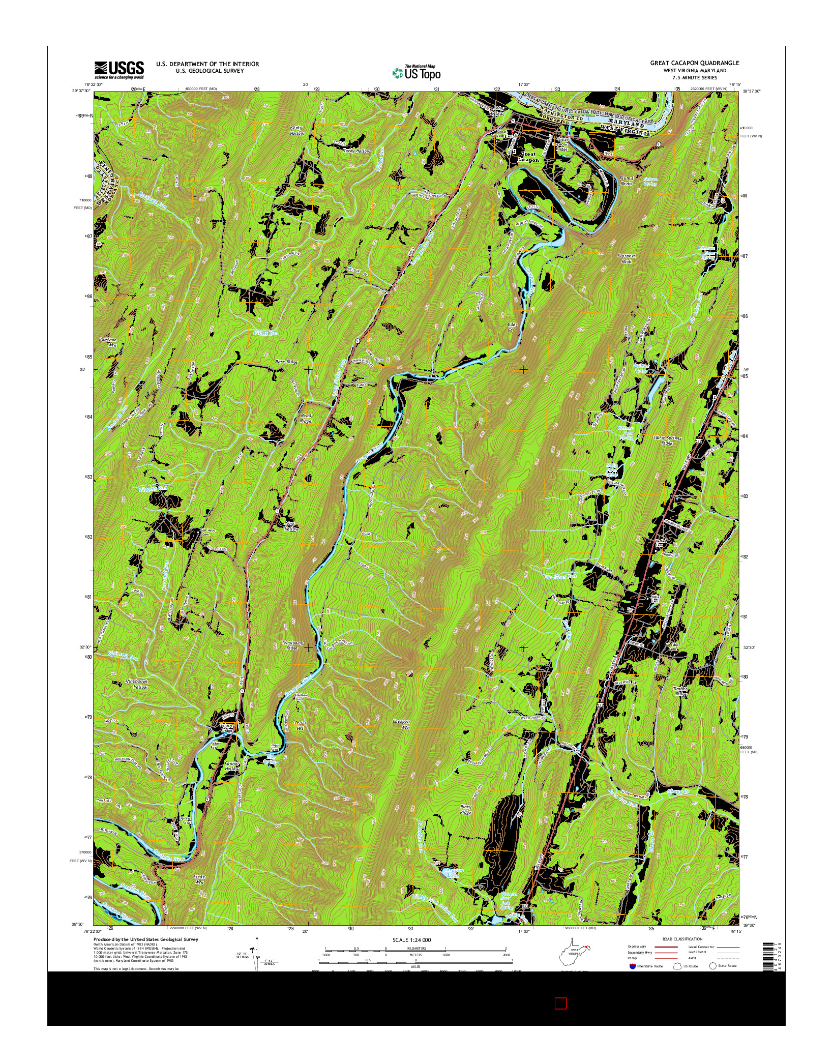 USGS US TOPO 7.5-MINUTE MAP FOR GREAT CACAPON, WV-MD 2014