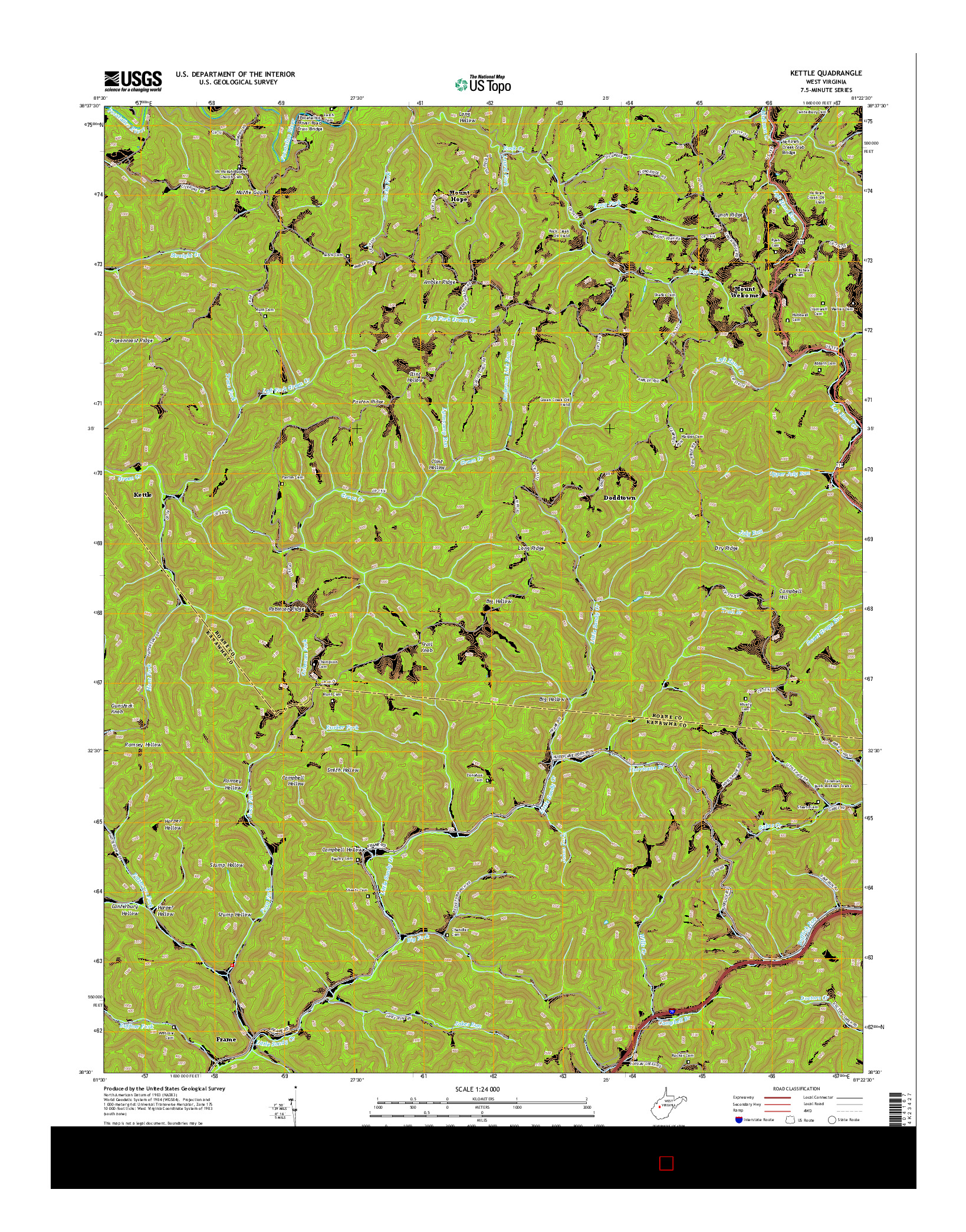 USGS US TOPO 7.5-MINUTE MAP FOR KETTLE, WV 2014
