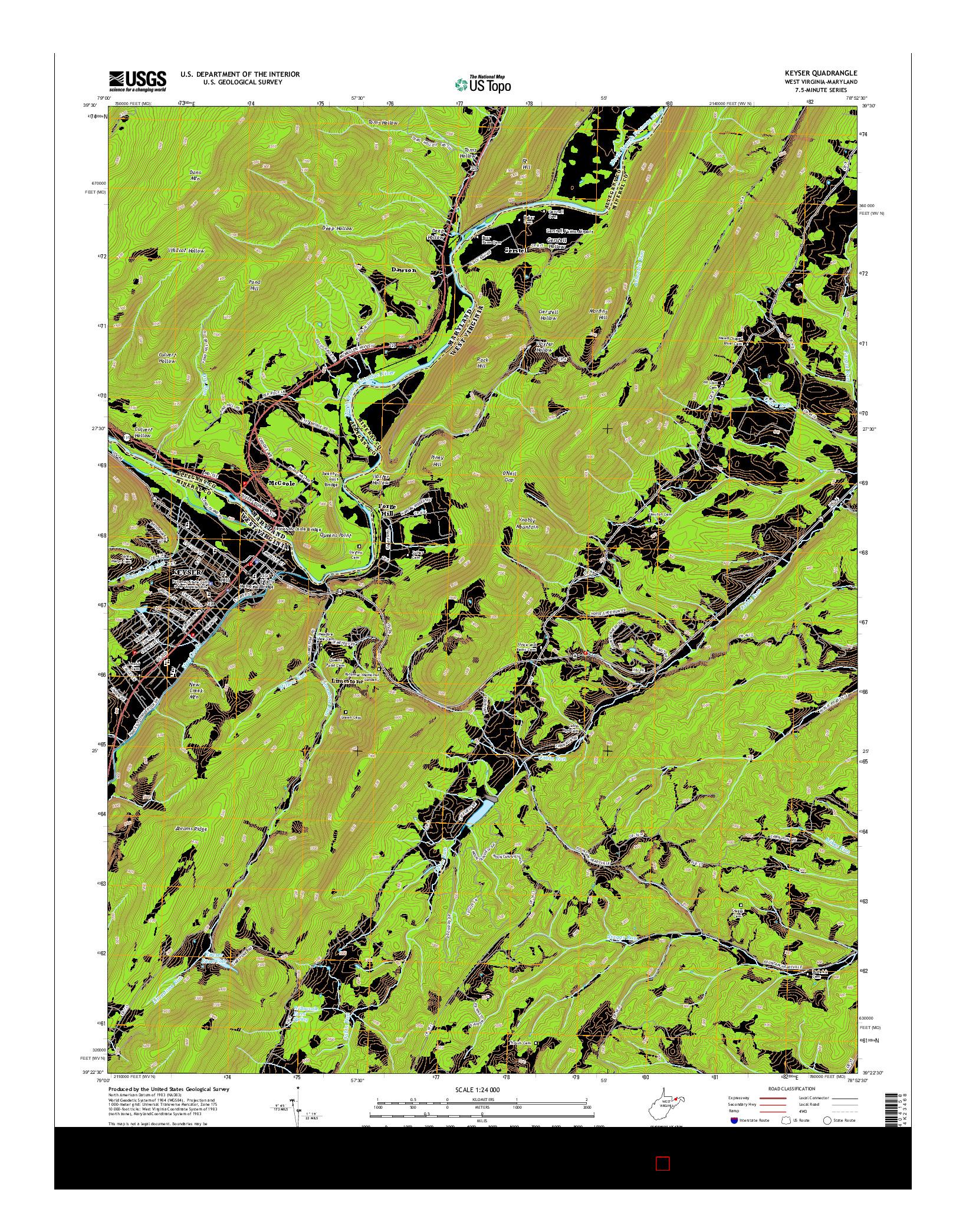 USGS US TOPO 7.5-MINUTE MAP FOR KEYSER, WV-MD 2014