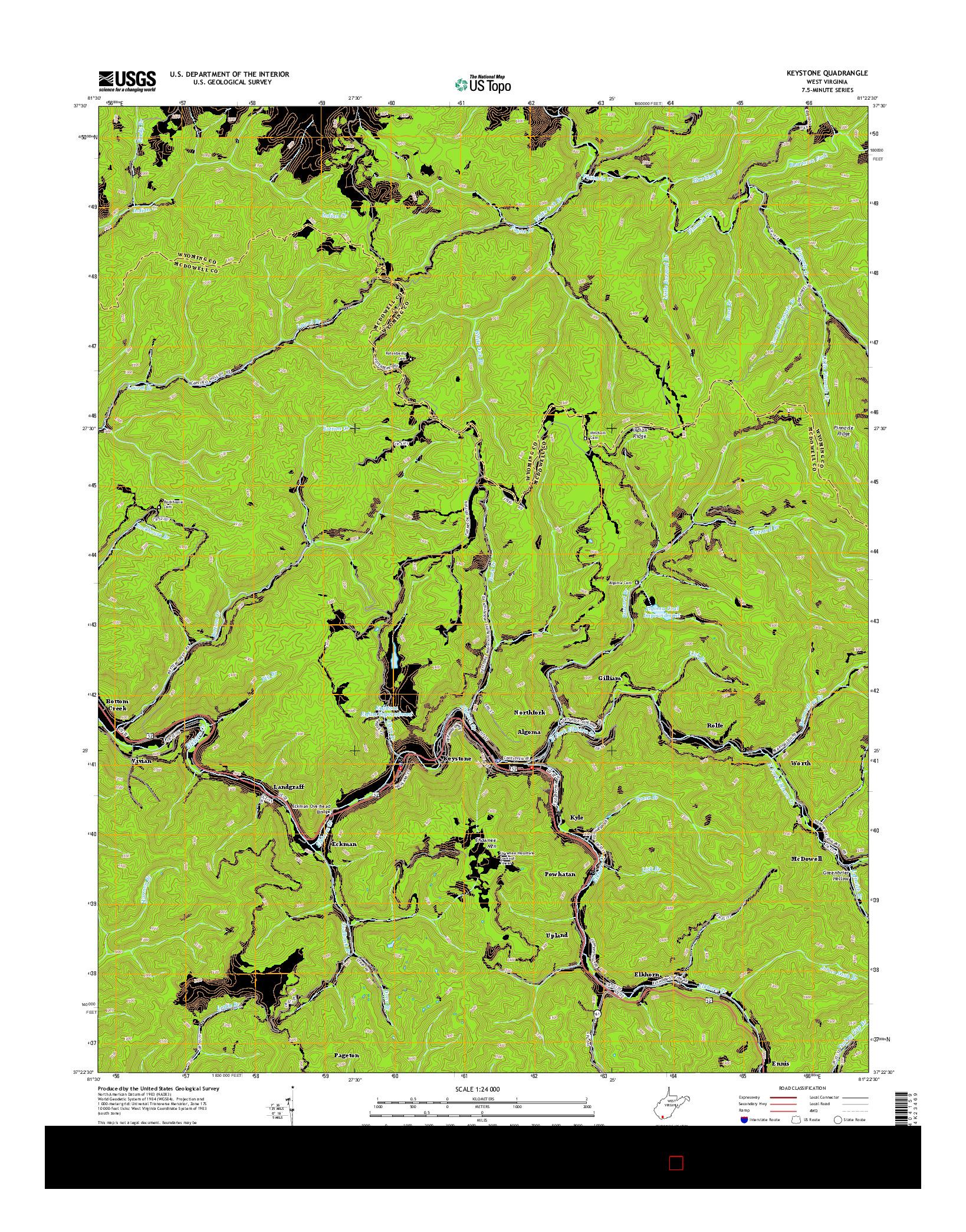USGS US TOPO 7.5-MINUTE MAP FOR KEYSTONE, WV 2014