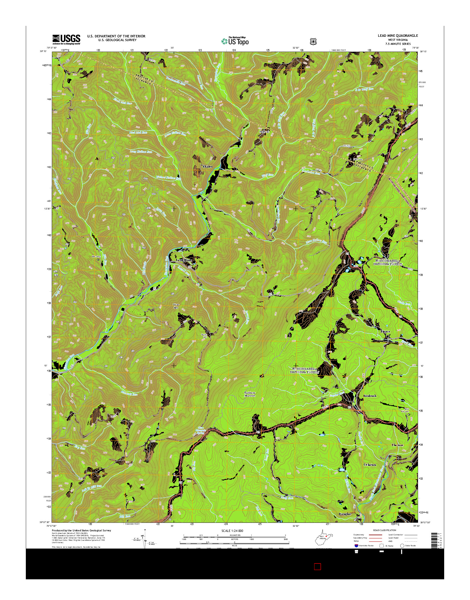 USGS US TOPO 7.5-MINUTE MAP FOR LEAD MINE, WV 2014