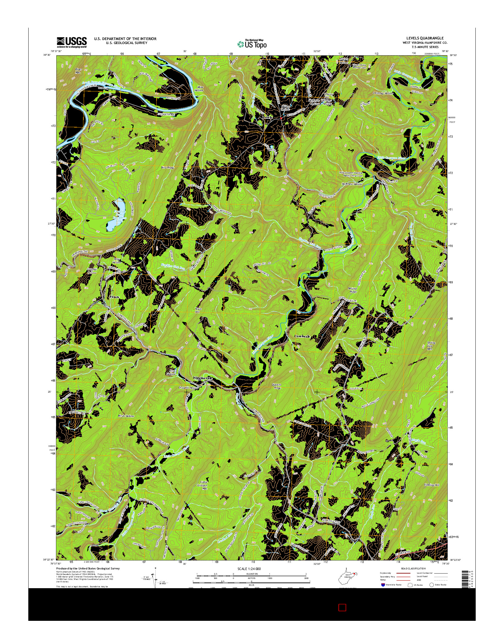 USGS US TOPO 7.5-MINUTE MAP FOR LEVELS, WV 2014
