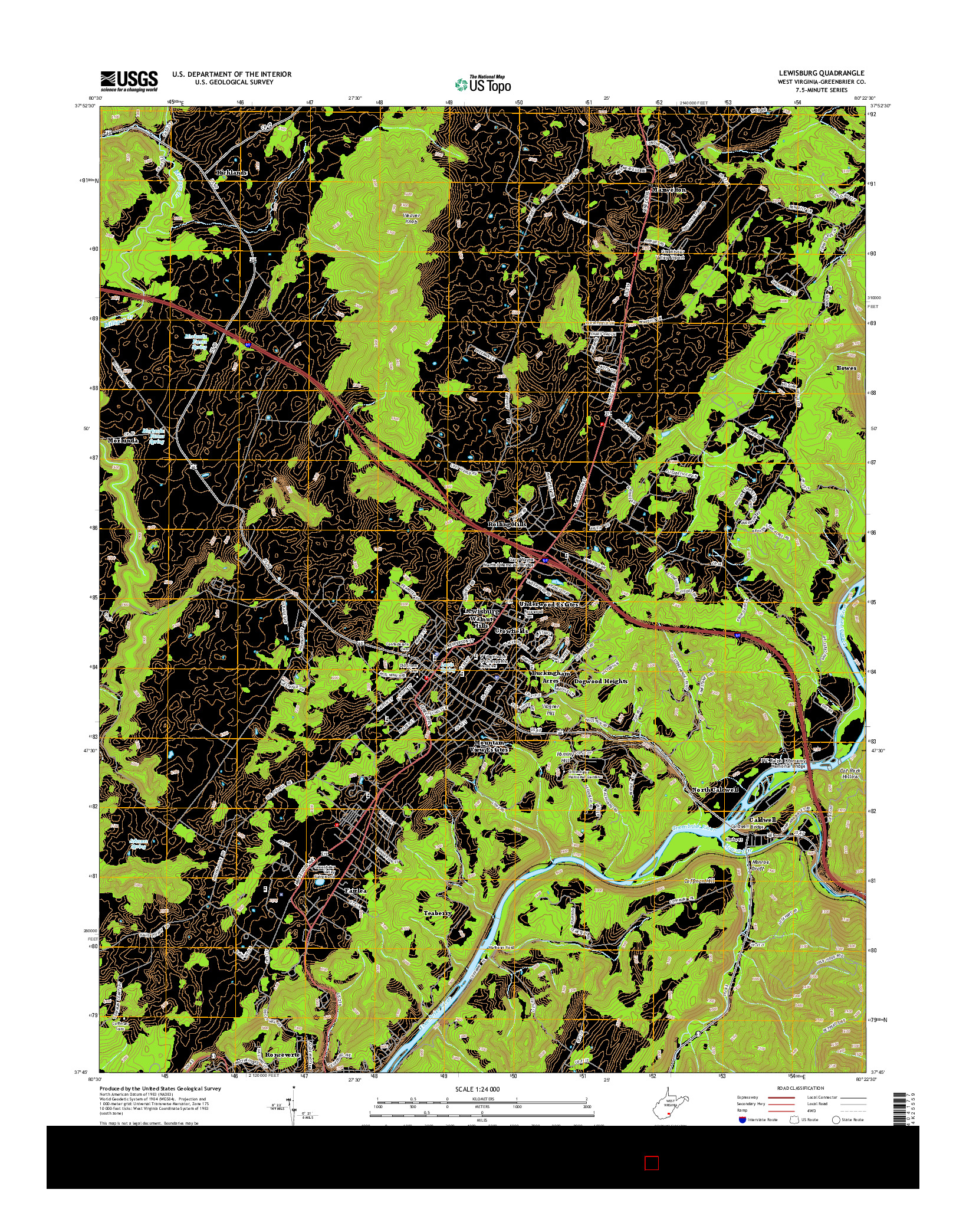 USGS US TOPO 7.5-MINUTE MAP FOR LEWISBURG, WV 2014